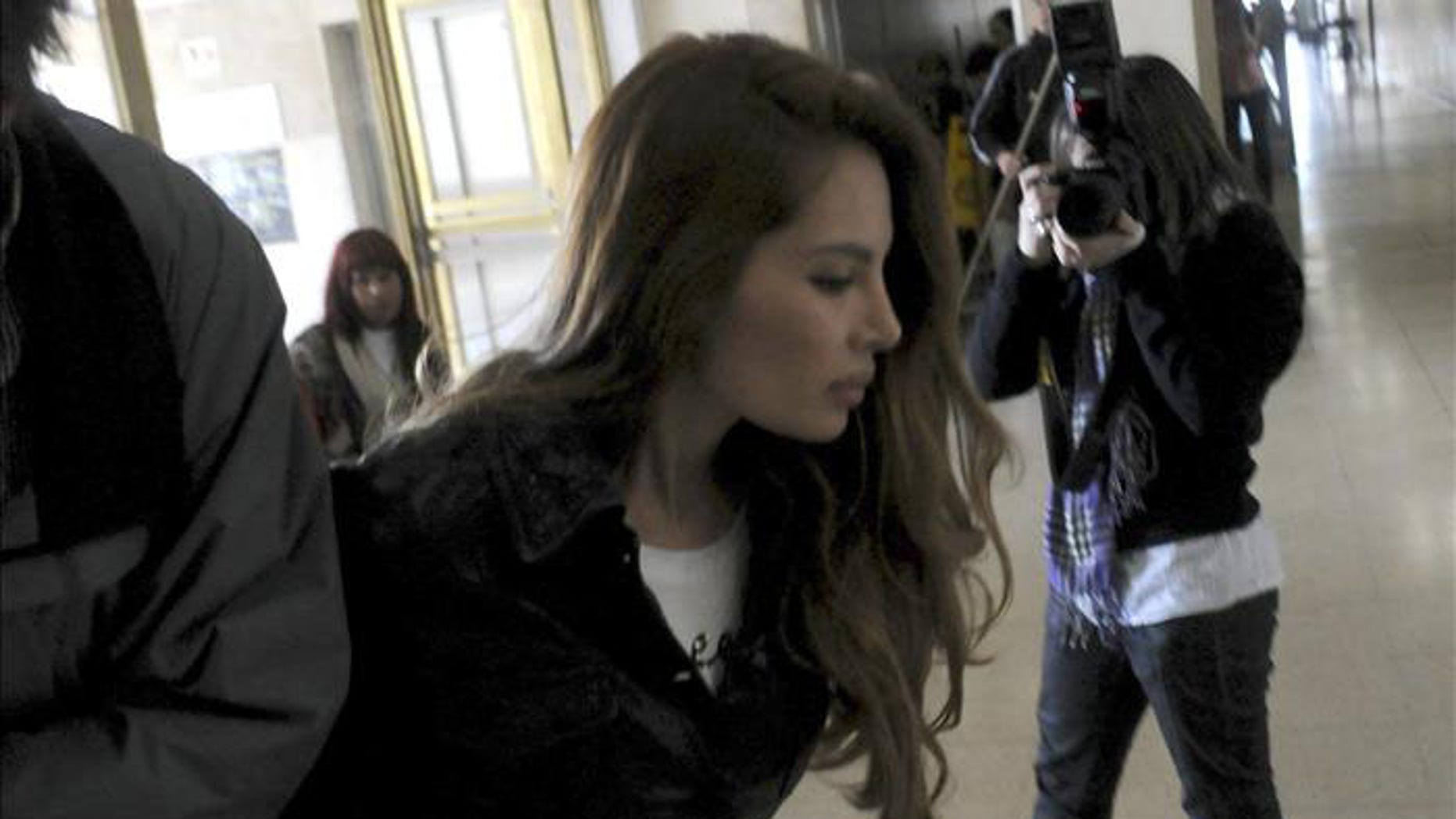 The Colombian model Angie Sanclemente Valencia arrives for her trial in Argentina.