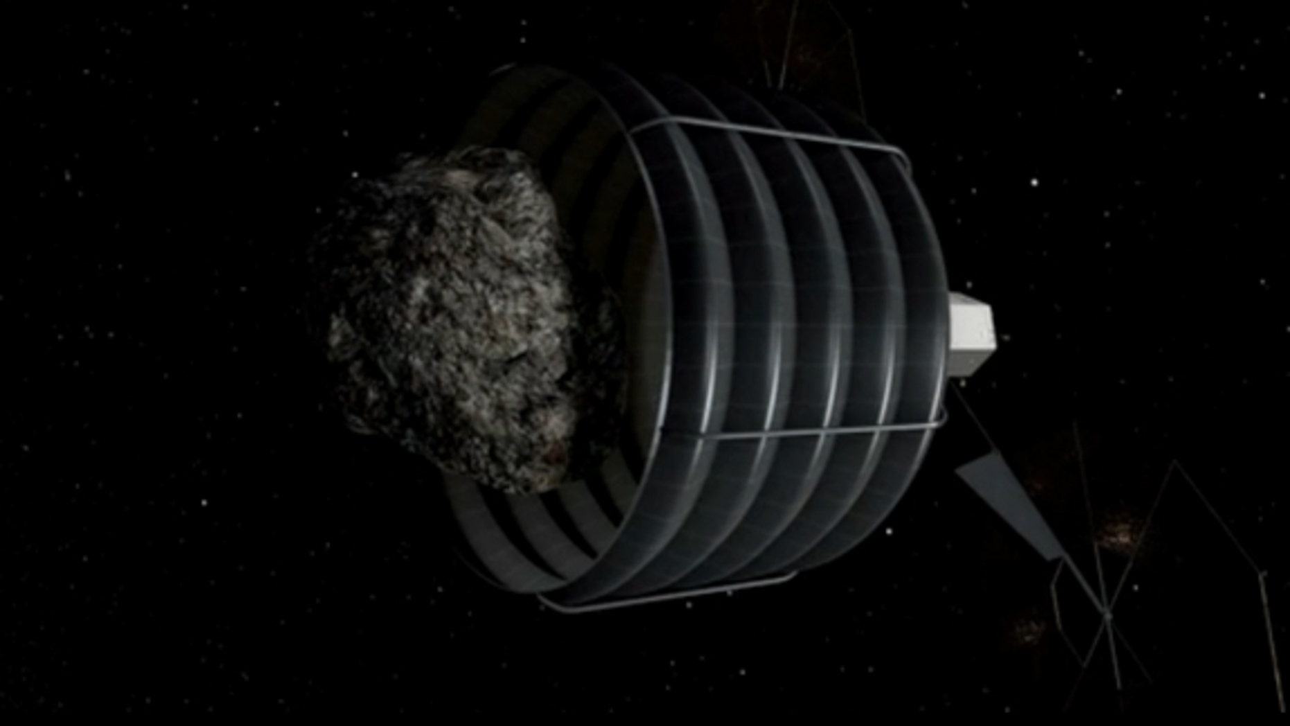 In this still from a NASA video, a robotic spacecraft's capture bag swallows an asteroid in order to return it to Earth.