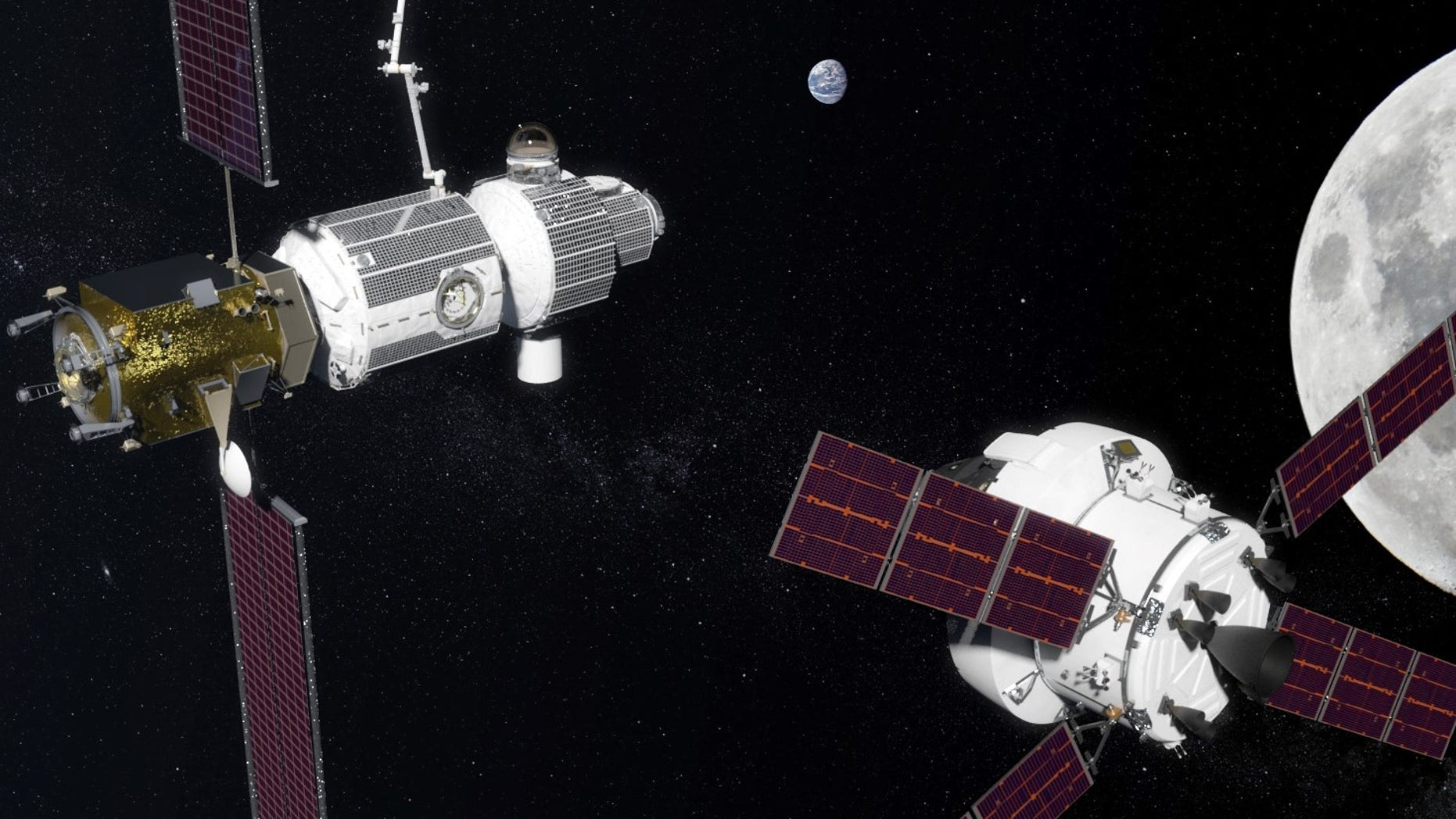 Artist's illustration of NASA's planned Lunar Orbital Platform-Gateway outpost (left), being approached by an Orion spacecraft.