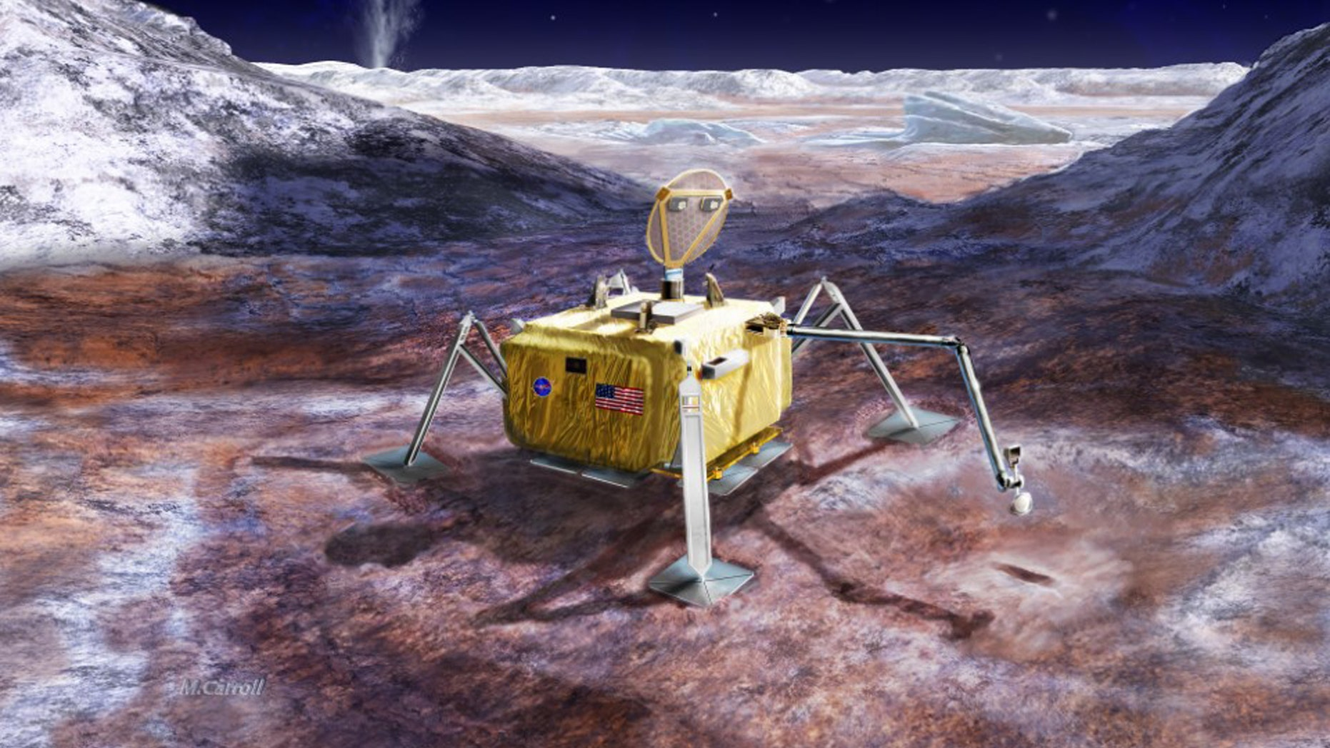 (An artist's rendering of what the lander could look like. Credit NASA/JPL–Caltech)