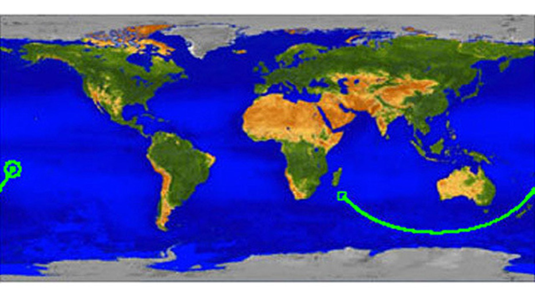 This map shows the ground track for UARS beginning in the Indian Ocean off the coast of Africa at 0330 GMT and ending at atmospheric interface over the Pacific Ocean at 0401 GMT. In this map, the satellite's path is shown beginning in the Indian Ocean off the coast of Africa at 0330 GMT and ending at atmospheric interface over the Pacific Ocean at 0401 GMT.