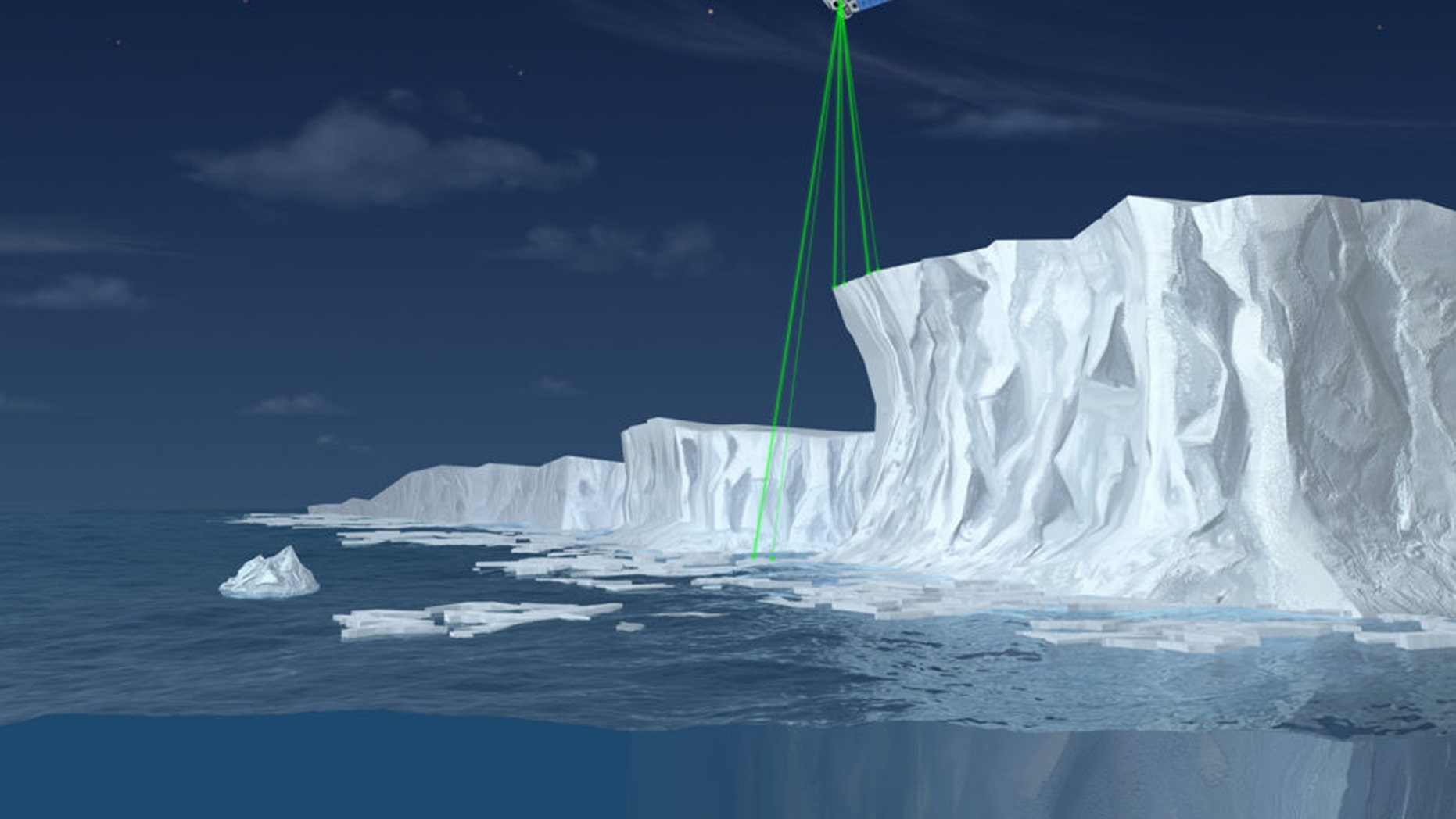 ICESat-2 will use six laser beams to measure the height of ice, as illustrated in this not-to-scale artist's rendering.