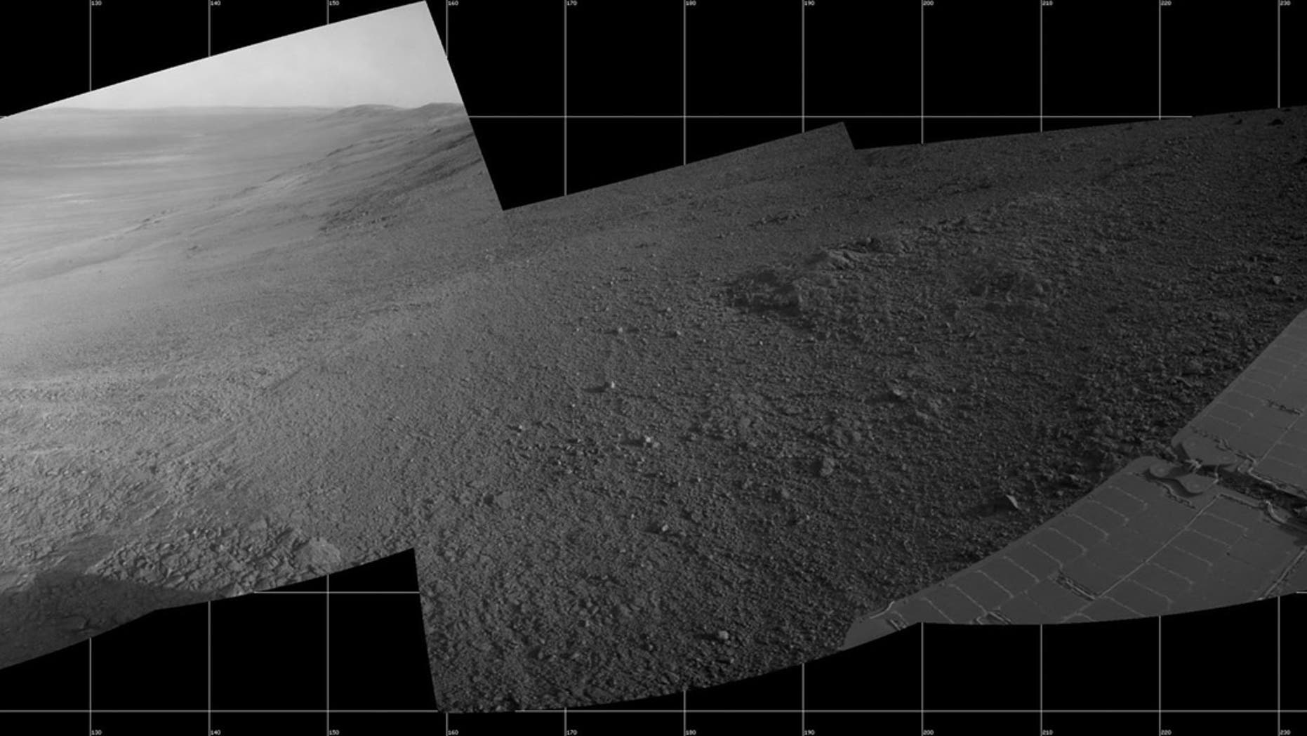 """About 11 months before the current dust storm enveloped the rover, Opportunity took five images that were turned into a mosaic showing a view from inside the upper end of """"Perseverance Valley"""" on the inner slope of Endeavour Crater's western rim. The images were taken on July 7, 2017. (Credit: NASA/JPL-Caltech)"""