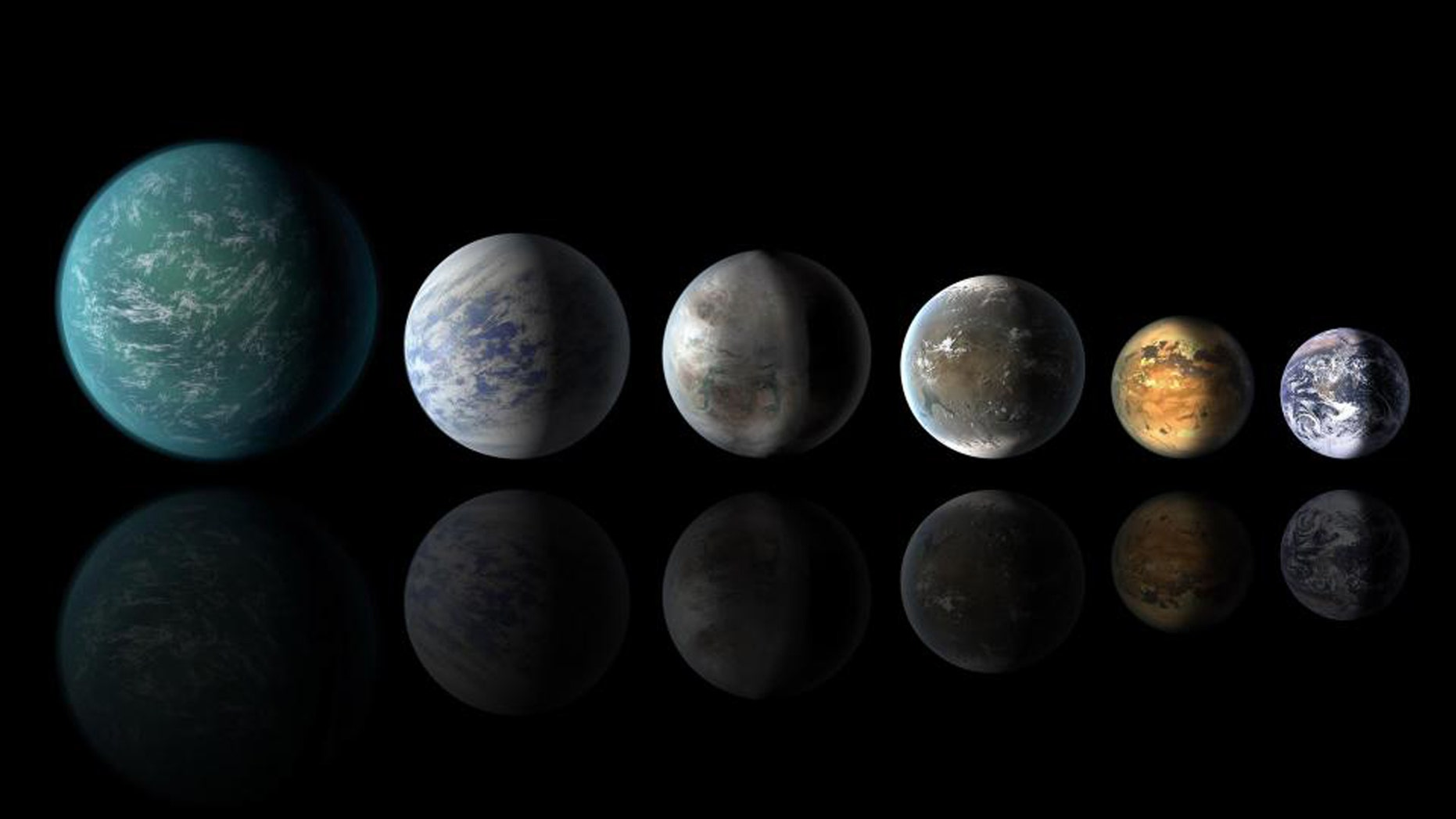 This artist's conception of a planetary lineup shows habitable-zone planets with similarities to Earth: from left, Kepler-22b, Kepler-69c, the just announced Kepler-452b, Kepler-62f and Kepler-186f. Last in line is Earth itself (NASA)