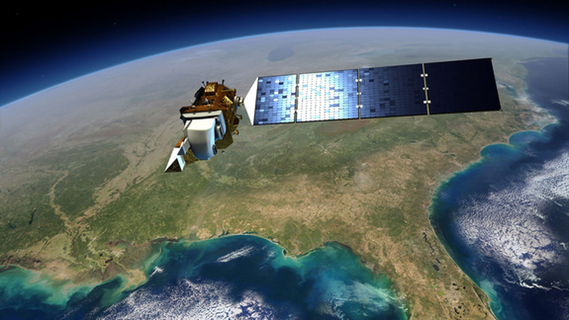 An artist's view of the Landsat Data Continuity Mission spacecraft in orbit above the Gulf Coast of the U.S.