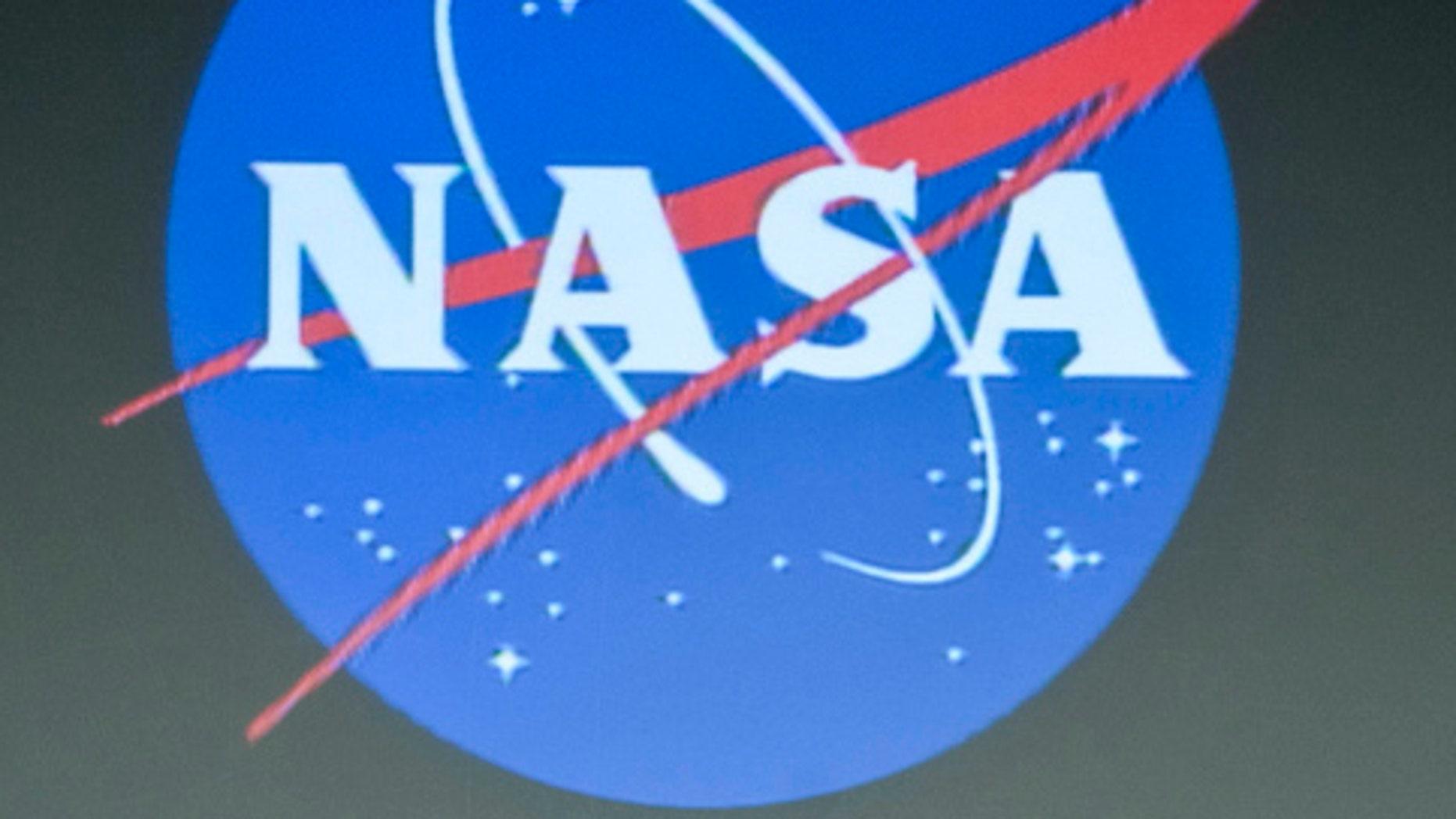 The logo of NASA, the National Aeronautics and Space Administration.