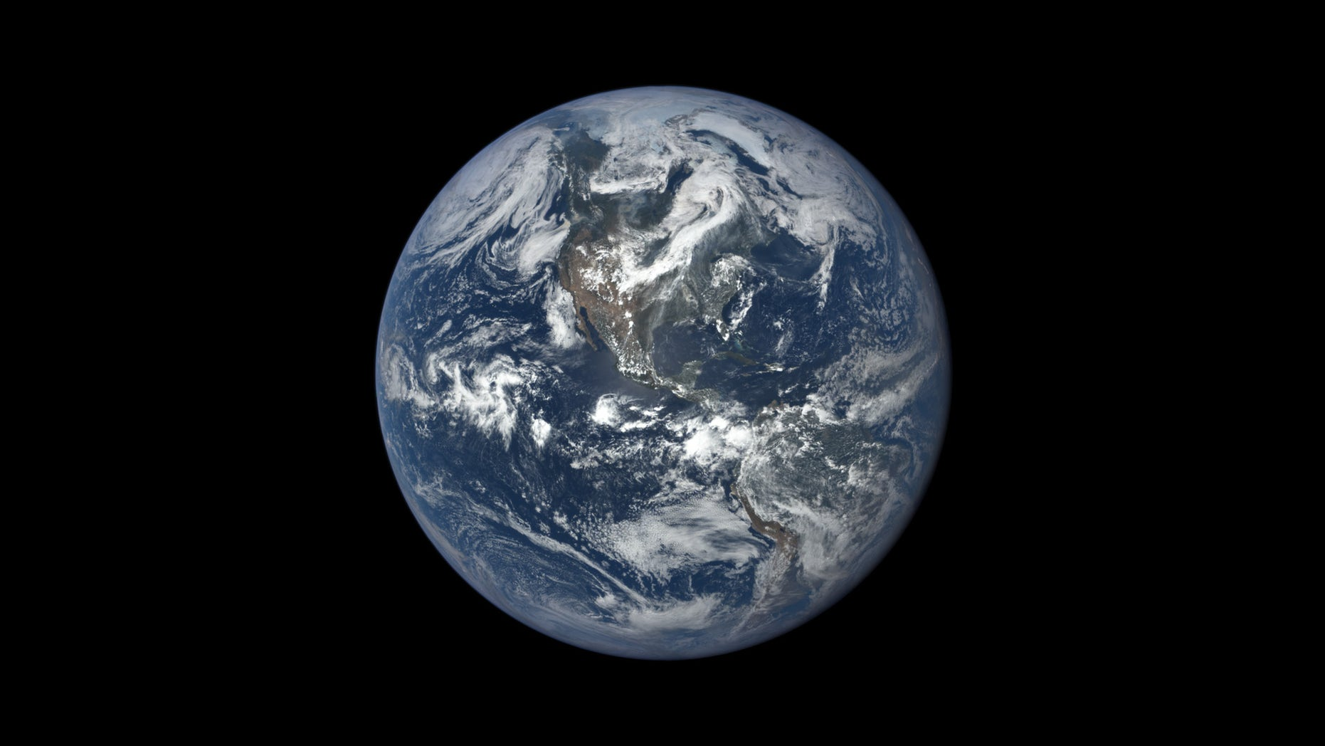FILE -- This image shows Earth as seen by NASA's Earth Polychromatic Imaging Camera (EPIC), aboard NOAA's Deep Space Climate Observatory (DSCOVR) spacecraft. (NASA)