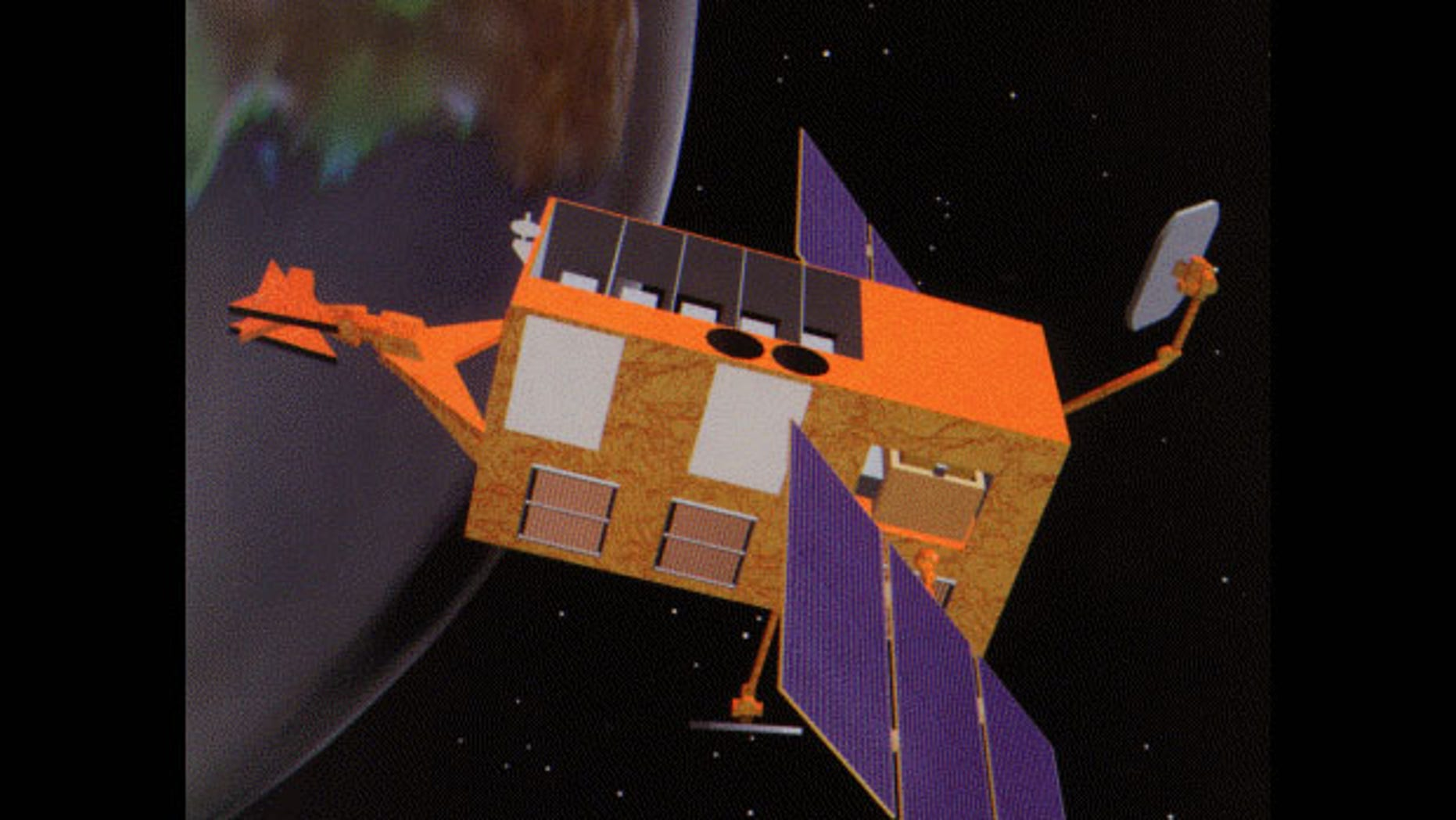 NASA's Rossi X-ray Timing Explorer satellite, shown here in an old artist's illustration, fell to Earth on April 30, 2018, burning up in the atmosphere. The satellite launched in 1995 and was decommissioned in 2012.