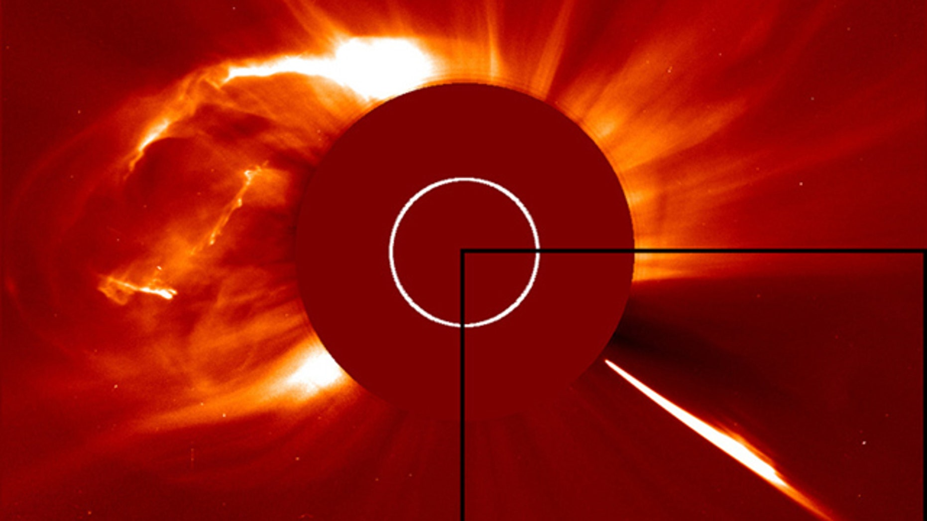 The Solar and Heliospheric Observatory captured this shot of a huge coronal mass ejection on Oct. 1, 2011, shortly after a comet dove into the sun (inset, right).
