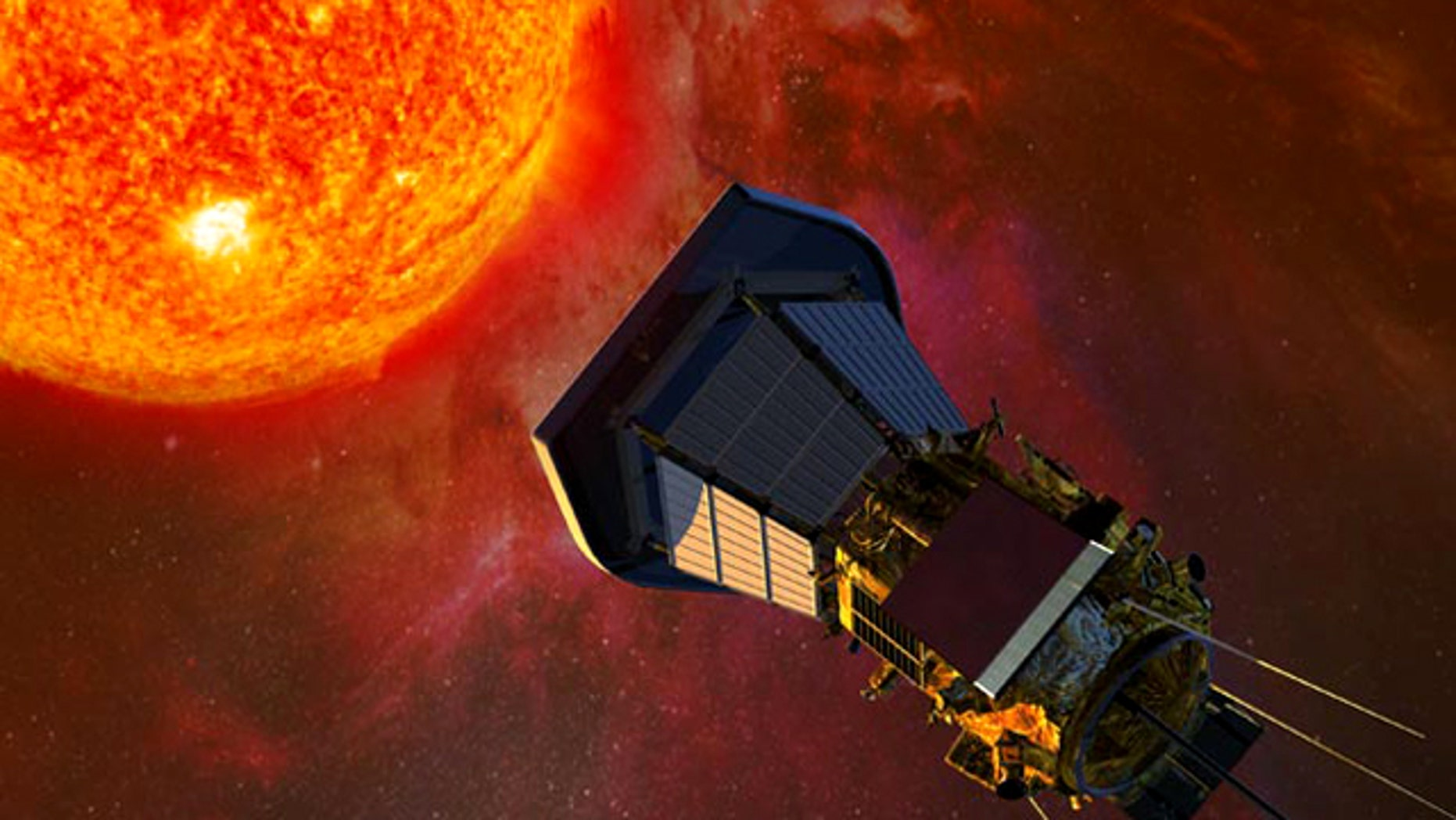 The Solar Probe Plus spacecraft, with solar panels folded into the shadows of its protective shield, gathers data on its approach to the Sun.