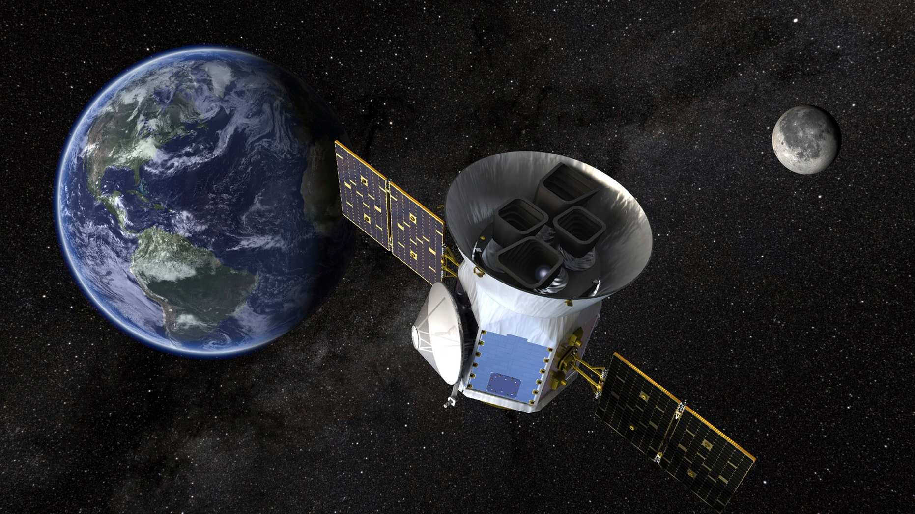 This image made available by NASA shows an illustration of the Transiting Exoplanet Survey Satellite (TESS). Scheduled for an April 2018 launch, the spacecraft will prowl for planets around the closest, brightest stars. These newfound worlds eventually will become prime targets for future telescopes looking to tease out any signs of life. (NASA via AP)