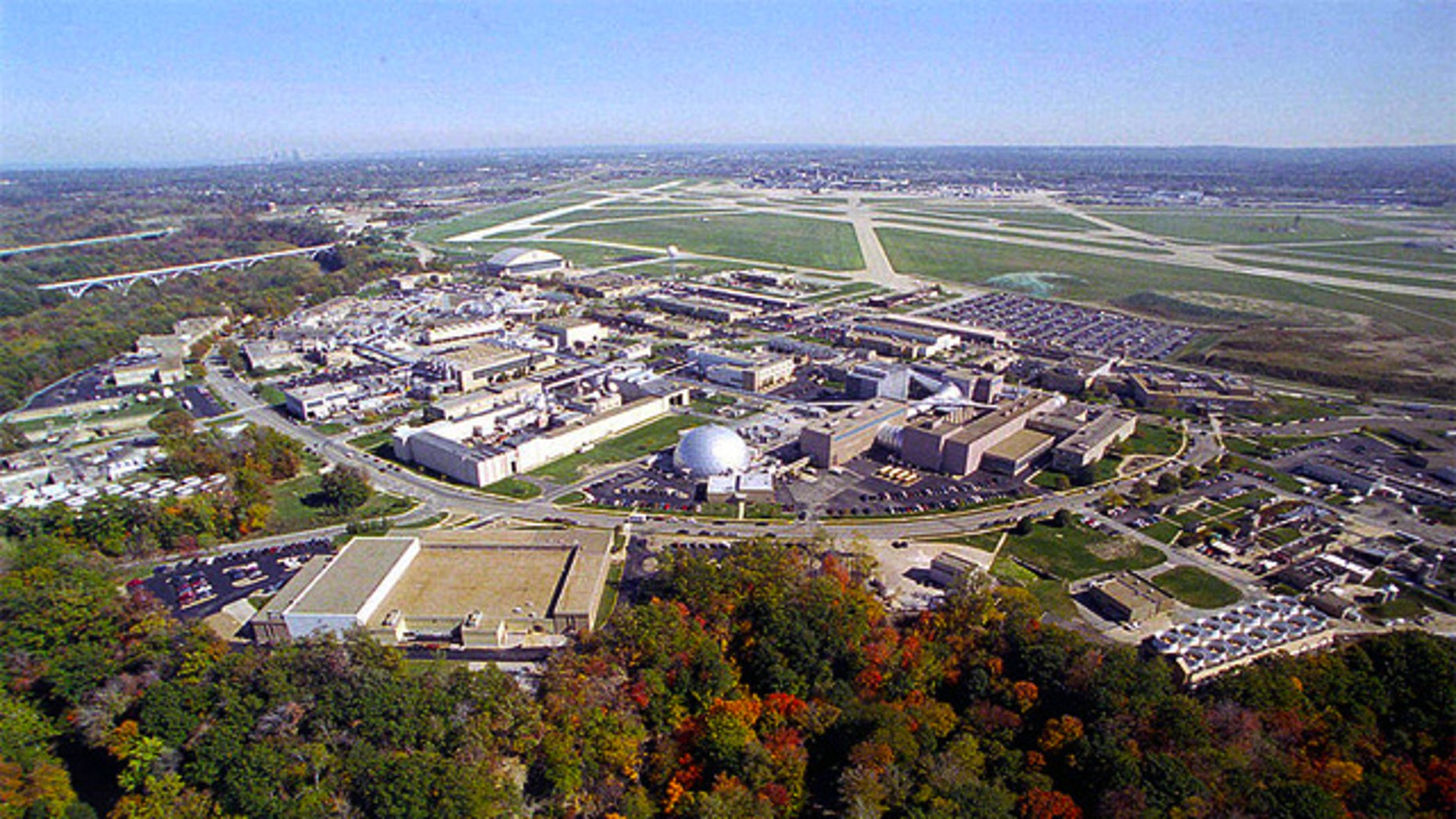An aerial view of NASA's Glenn Research Center at Lewis Field, Cleveland, Ohio.