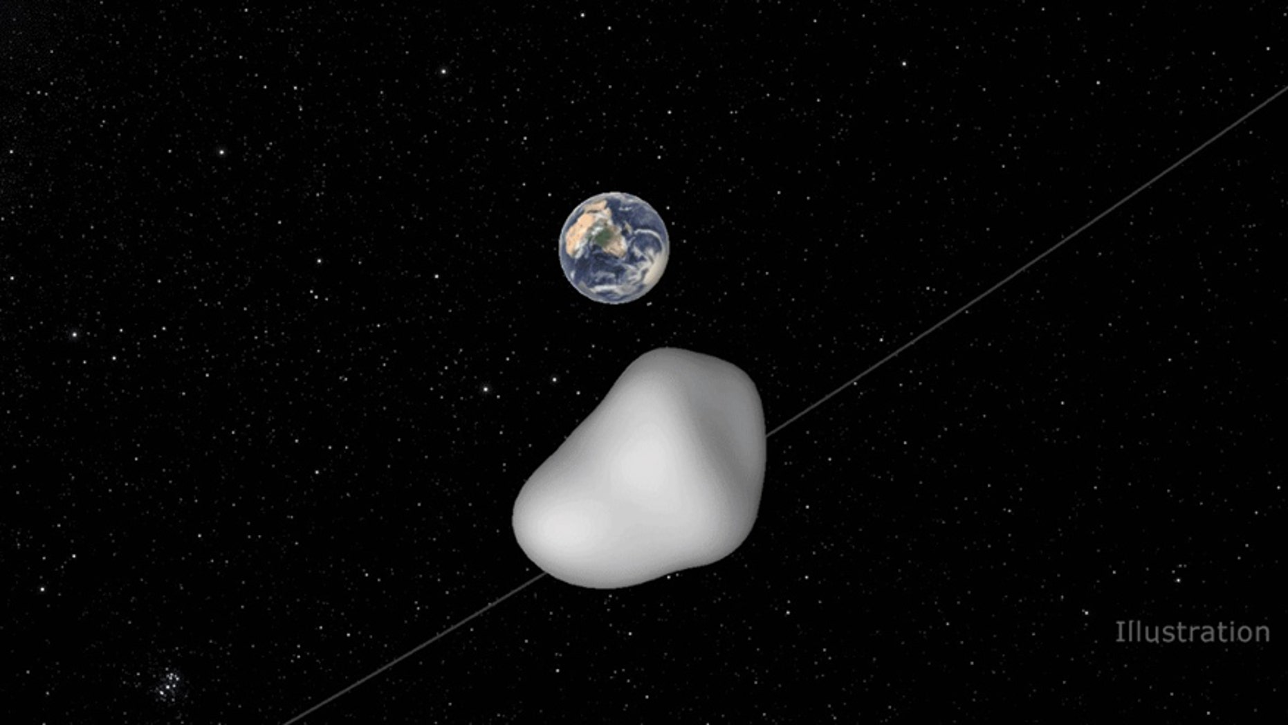 This illustration depicts the flyby of small asteroid 2012 TC4 as it passes under Earth. On Oct. 12 EDT (Oct. 11 PDT), 2012 TC4 will safely pass by Earth at a distance of approximately 26,000 miles. (Image credit: NASA/JPL-Caltech)
