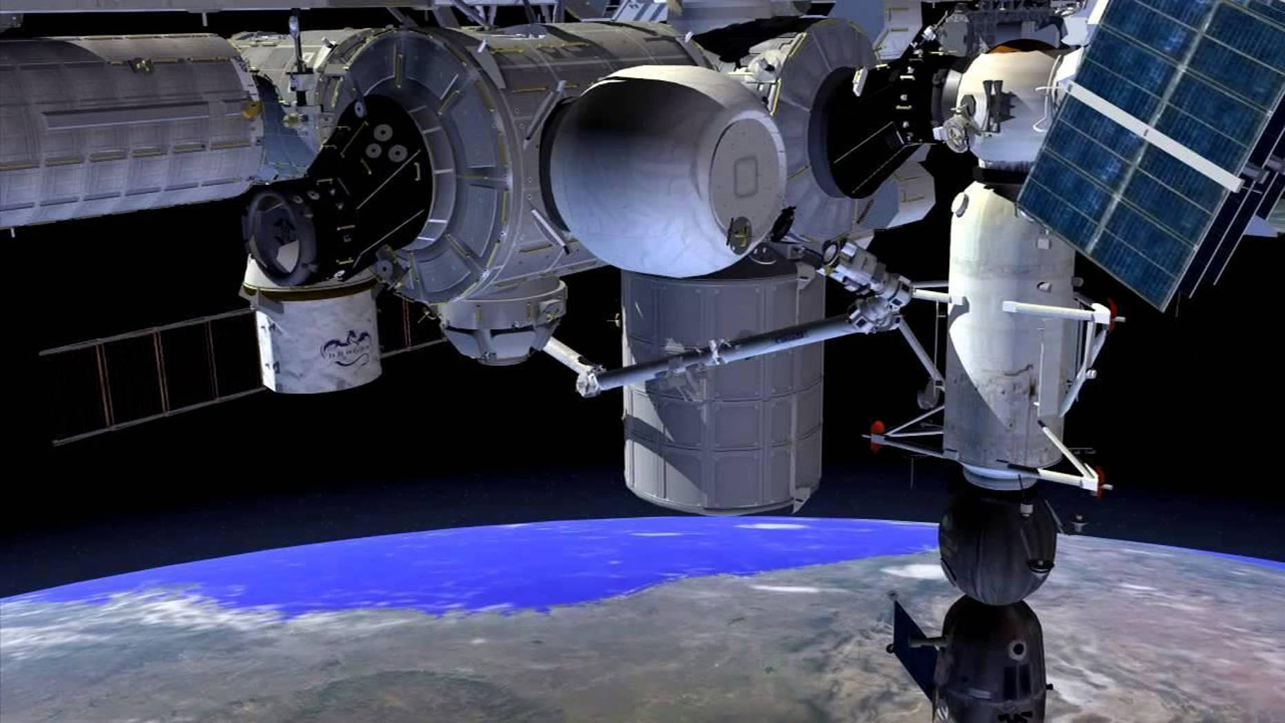 Artist's impression - Inflated BEAM module (balloon structure at top center) berthed to the Tranquility node of ISS (NASA).