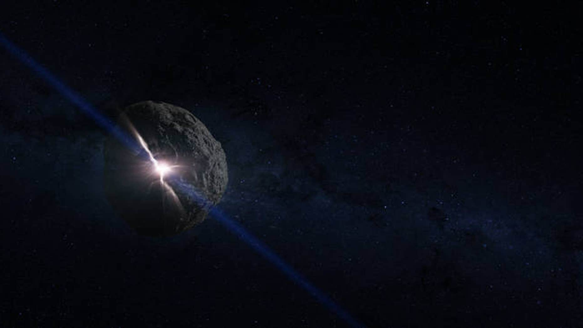 Artist's concept of the impact that created the asteroid Bennu. (Credits: NASA's Goddard Space Flight Center Conceptual Image Lab)