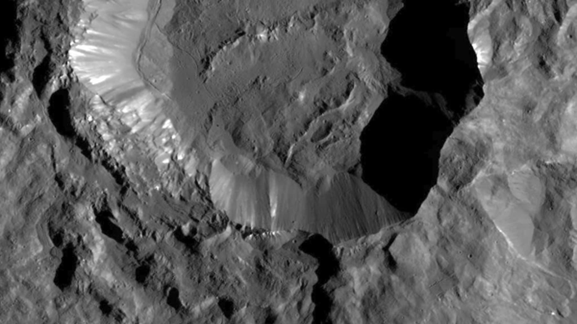 This image from NASA's Dawn spacecraft shows Kupalo Crater, one of the youngest craters on Ceres. (Image Credit: NASA/JPL-Caltech/UCLA/MPS/DLR/IDA)