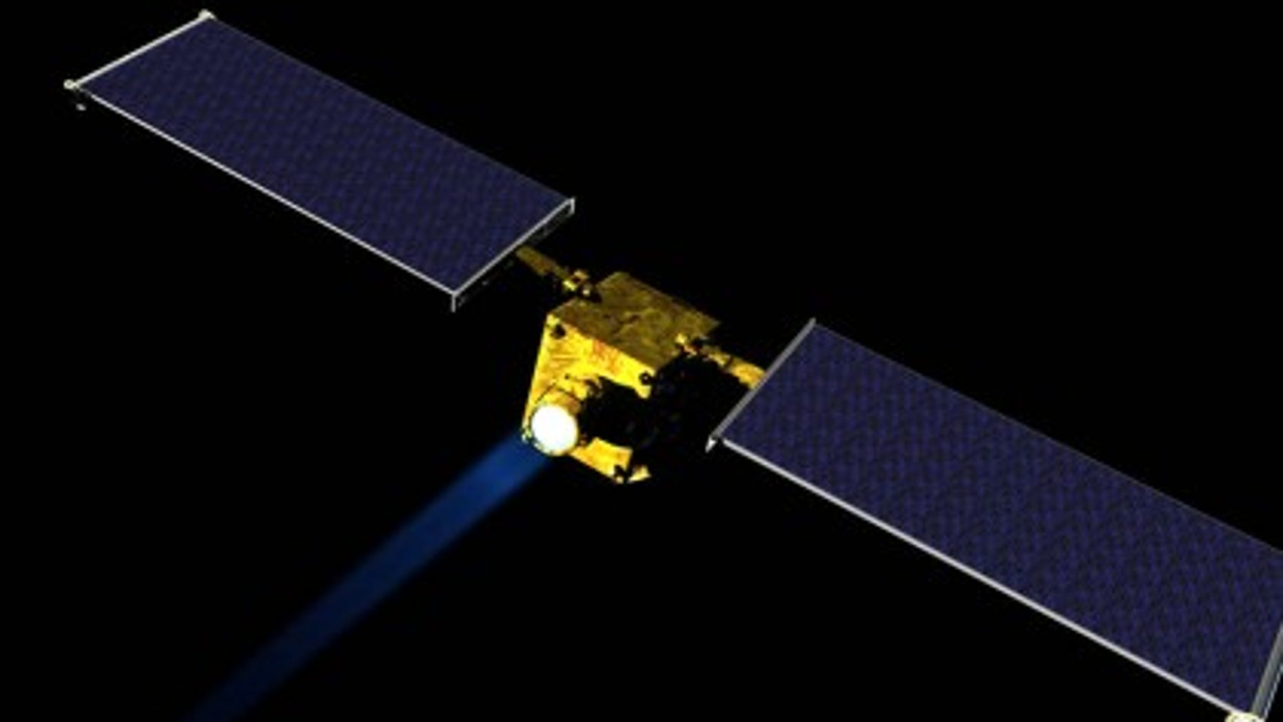 Artist concept of NASA's DART spacecraft, part of NASA's first mission to demonstrate an asteroid deflection technique for planetary defense (NASA/JHUAPL)