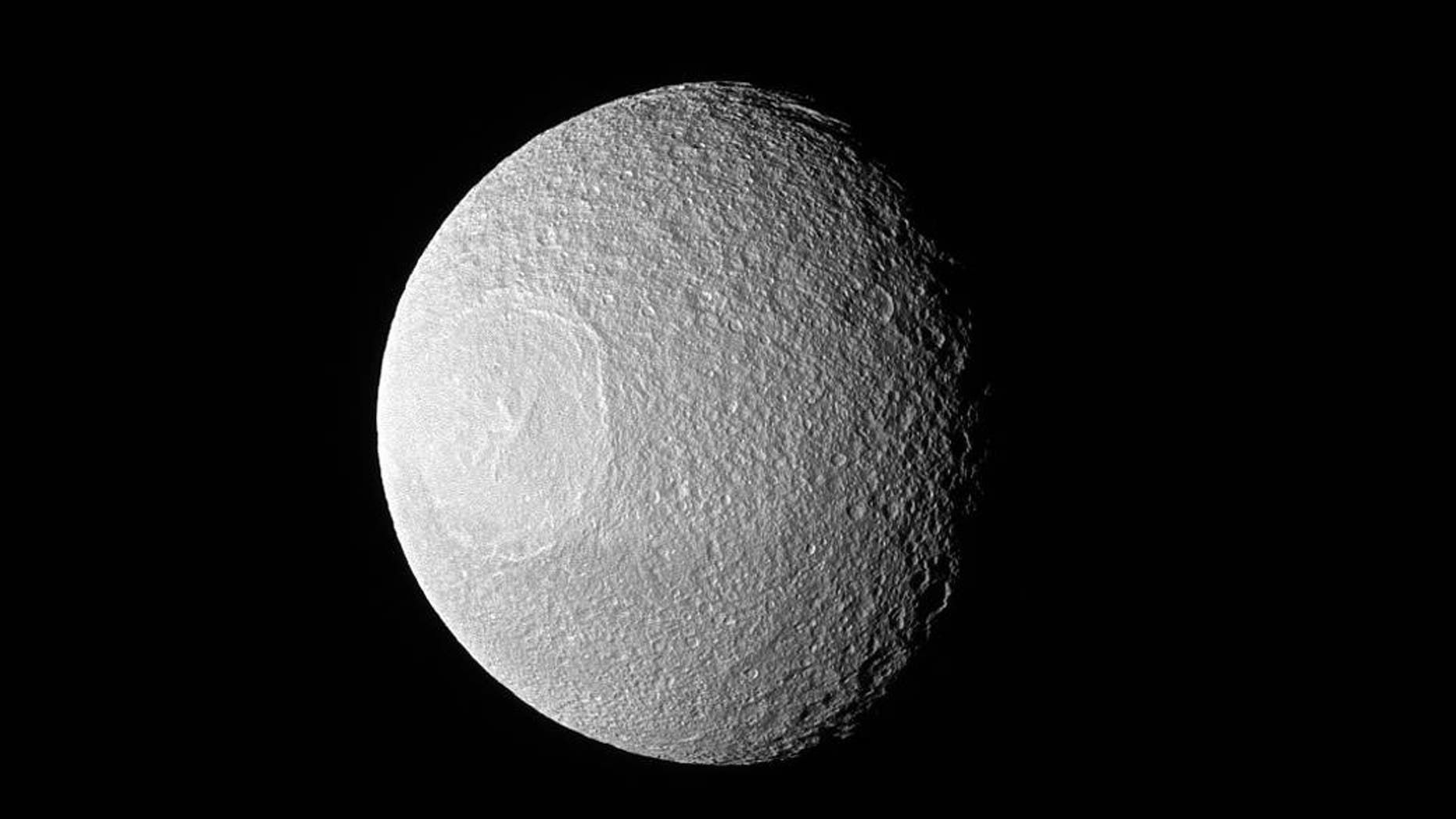 Saturn's moon Tethys (NASA/JPL-Caltech/Space Science Institute).
