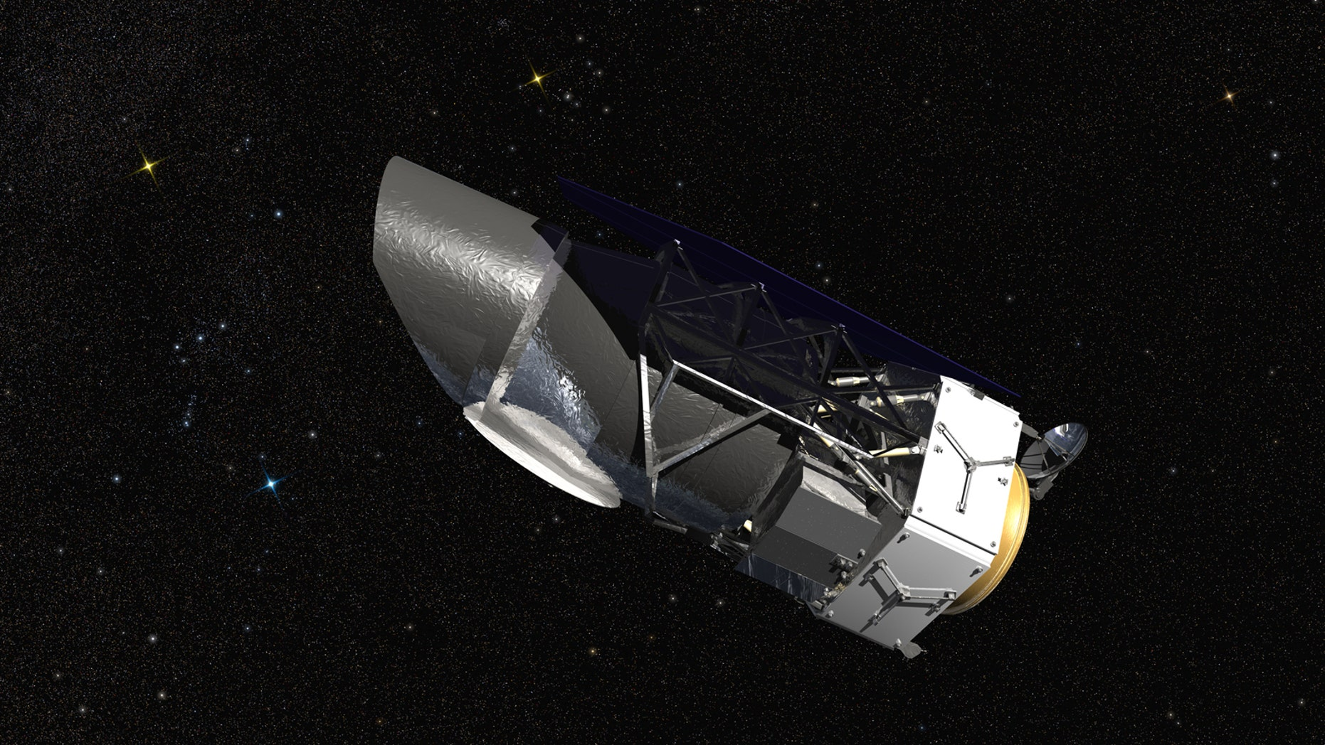 WFIRST, the Wide Field Infrared Survey Telescope, is shown here in an artist's rendering.(NASA/Goddard Space Flight Center/Conceptual Image Lab)