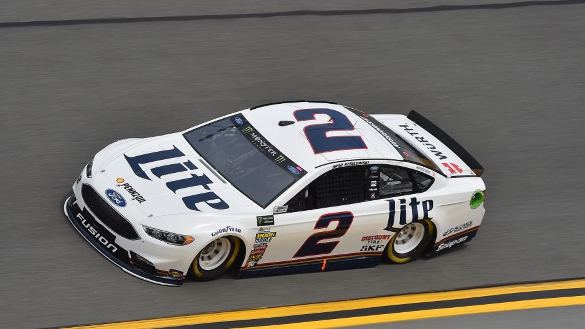 Feb 18, 2017; Daytona Beach, FL, USA; NASCAR Cup Series driver Brad Keselowski (2) during practice for the Daytona 500 at Daytona International Speedway. Mandatory Credit: Jasen Vinlove-USA TODAY Sports