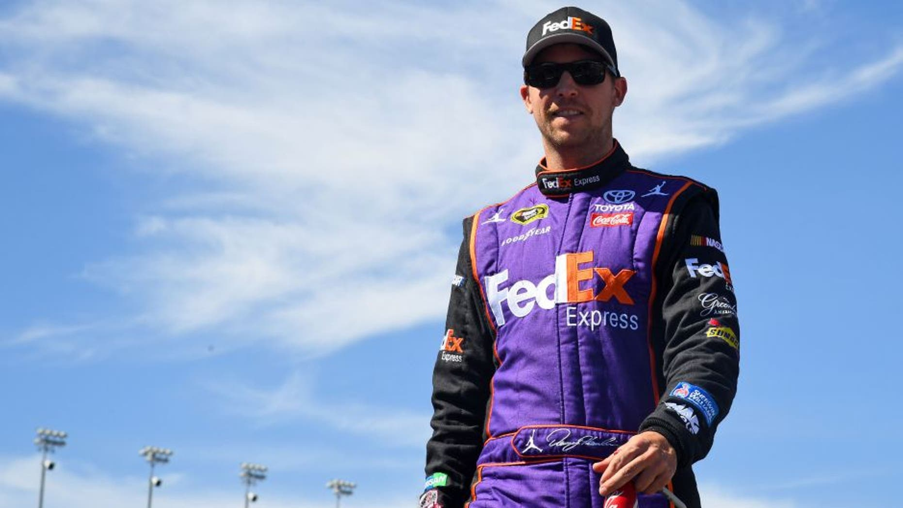 Sep 18, 2016; Joliet, IL, USA; Sprint Cup Series driver Denny Hamlin (11) before the Teenage Mutant Ninja Turtles 400 at Chicagoland Speedway. Mandatory Credit: Mike DiNovo-USA TODAY Sports