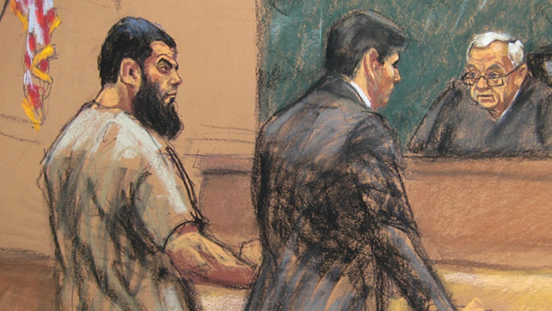 Nov. 24, 2015: A courtroom sketch of Abid Naseer being sentenced by a judge.