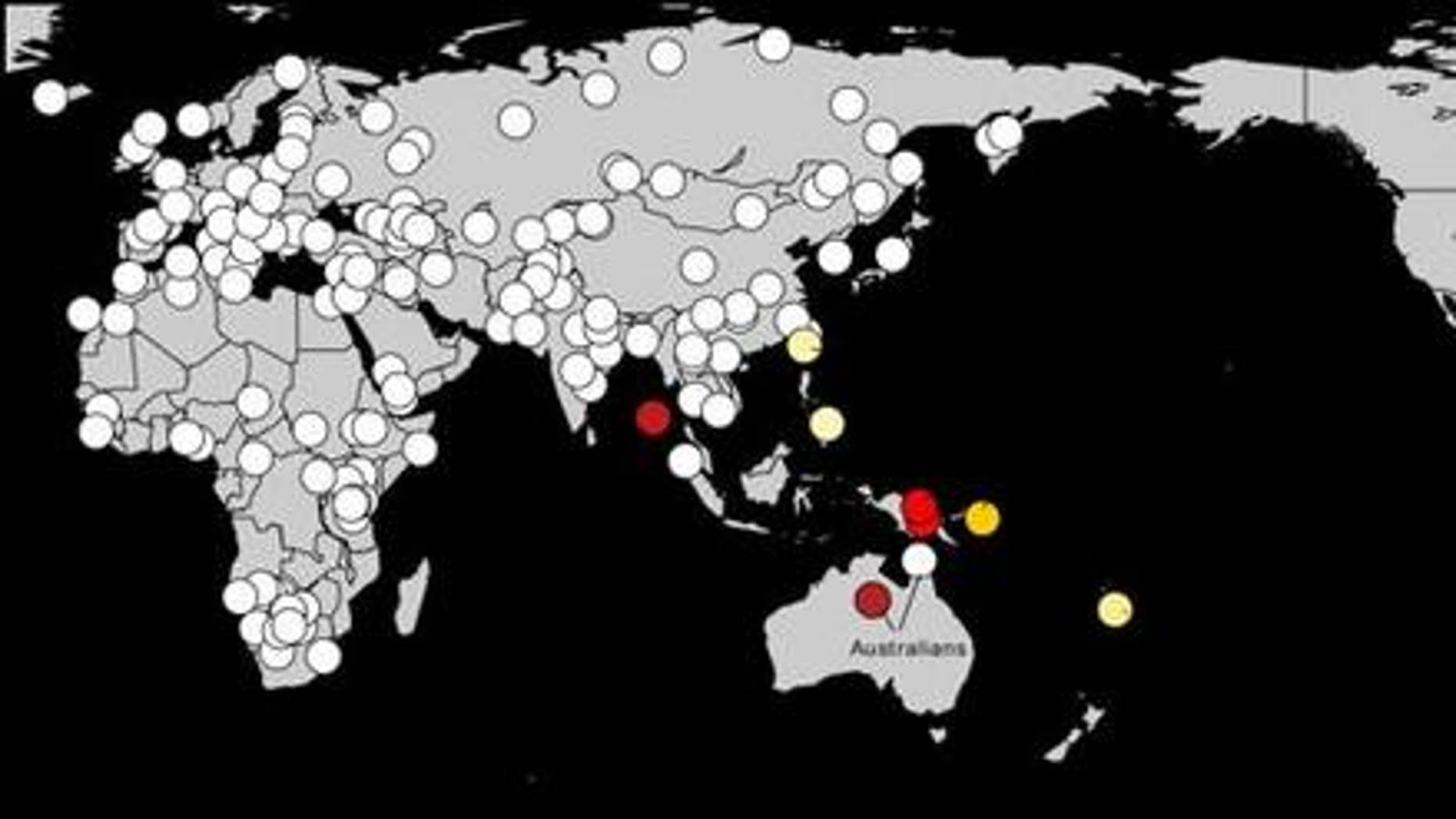 Scientists have found deep genetic links between Amazonian natives in South America and Australasians (warmer colors indicate the strongest affinities).
