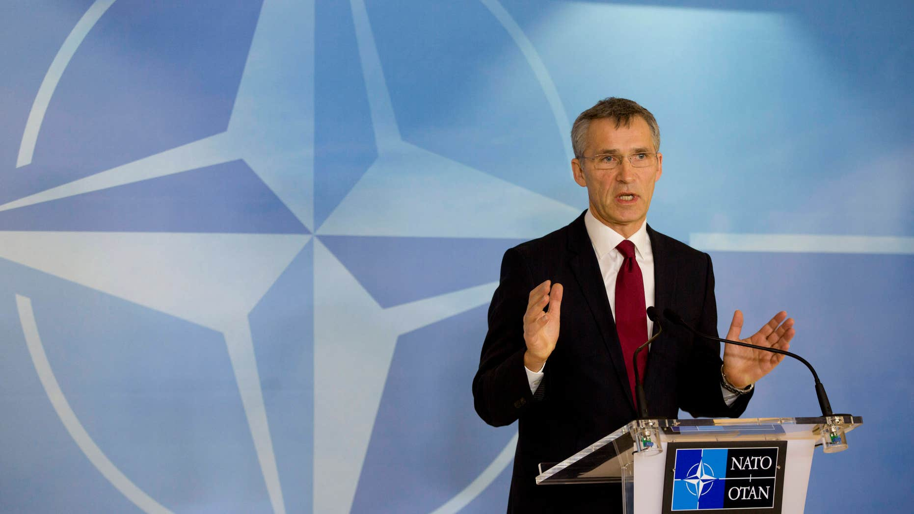 Feb. 5, 2015: NATO Secretary General Jens Stoltenberg speaks during a media conference at NATO headquarters in Brussels.