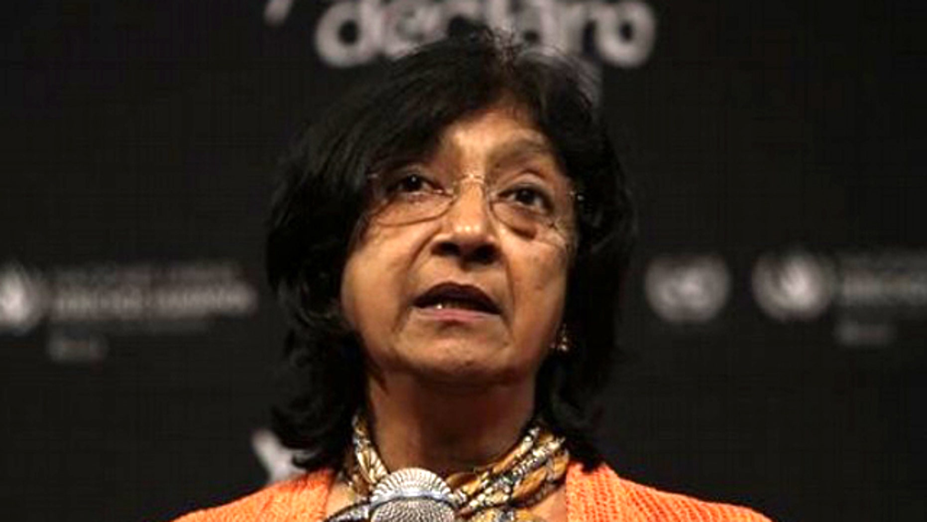 "Navanethem ""Navi"" Pillay, United Nations High Commissioner for Human Rights speaks during a news conference in Mexico City, Mexico, Wednesday July 6, 2011."