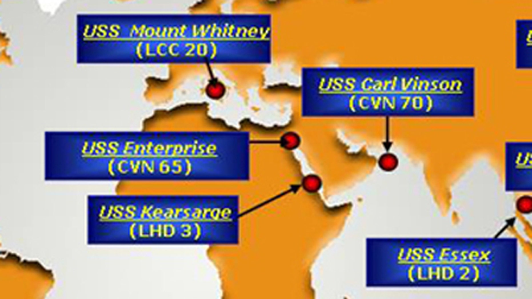Shown here are the positions of key U.S. Navy ships on Feb. 28.