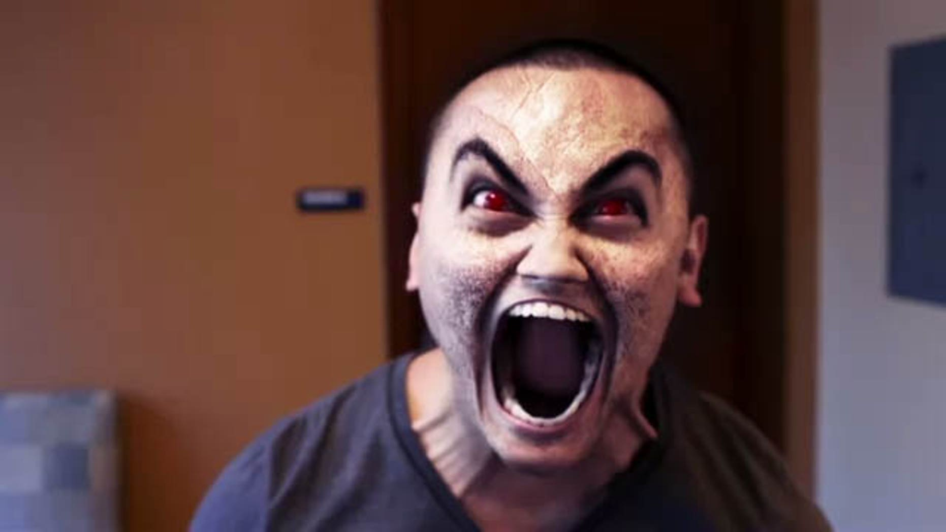 This is a screen shot of a scene in the video when the service member, under the influence of bath salts, returns to his dorm room and believes his roommate has turned demonic.