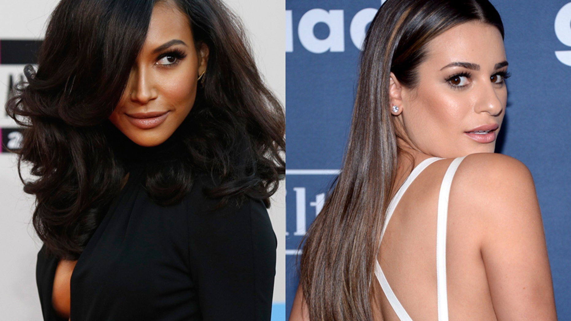 "Former ""Glee"" co-stars Naya Rivera (left) and Lea Michele."