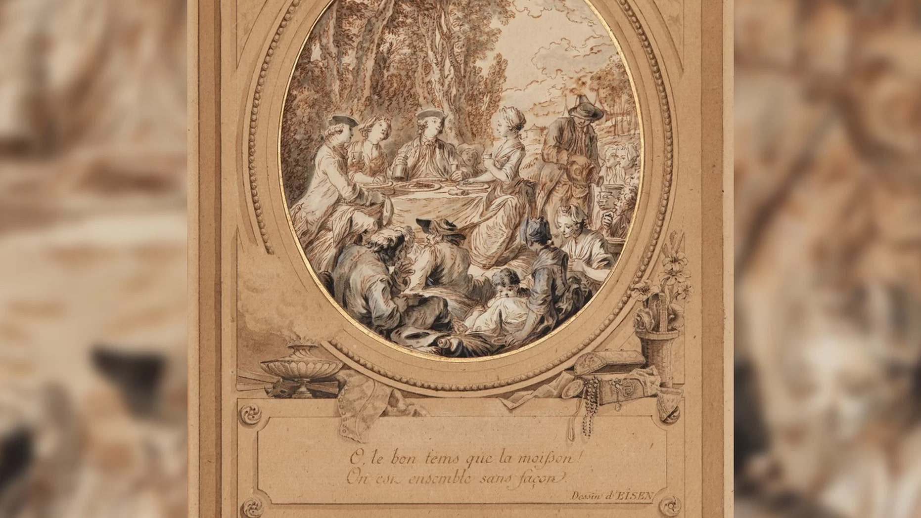 Preparatory sketch with a drawn frame for an illustration of the Comedy Les Moissonneurs, 1768, by Charles Dominique Joseph Eisen (1720–1778). Credit: Charles Dominique Joseph Eisen/Courtesy of the Bundeskunsthalle museum