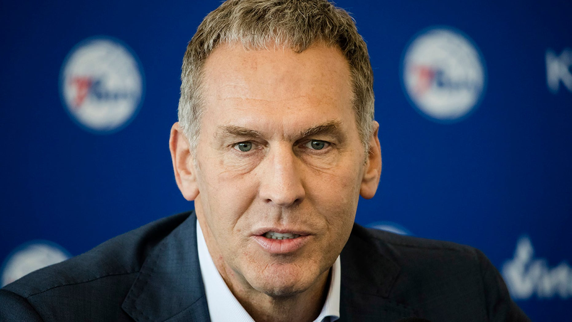 Philadelphia 76ers general manager Bryan Colangelo speaks during a news conference at the NBA basketball team's practice facility in Camden, N.J.