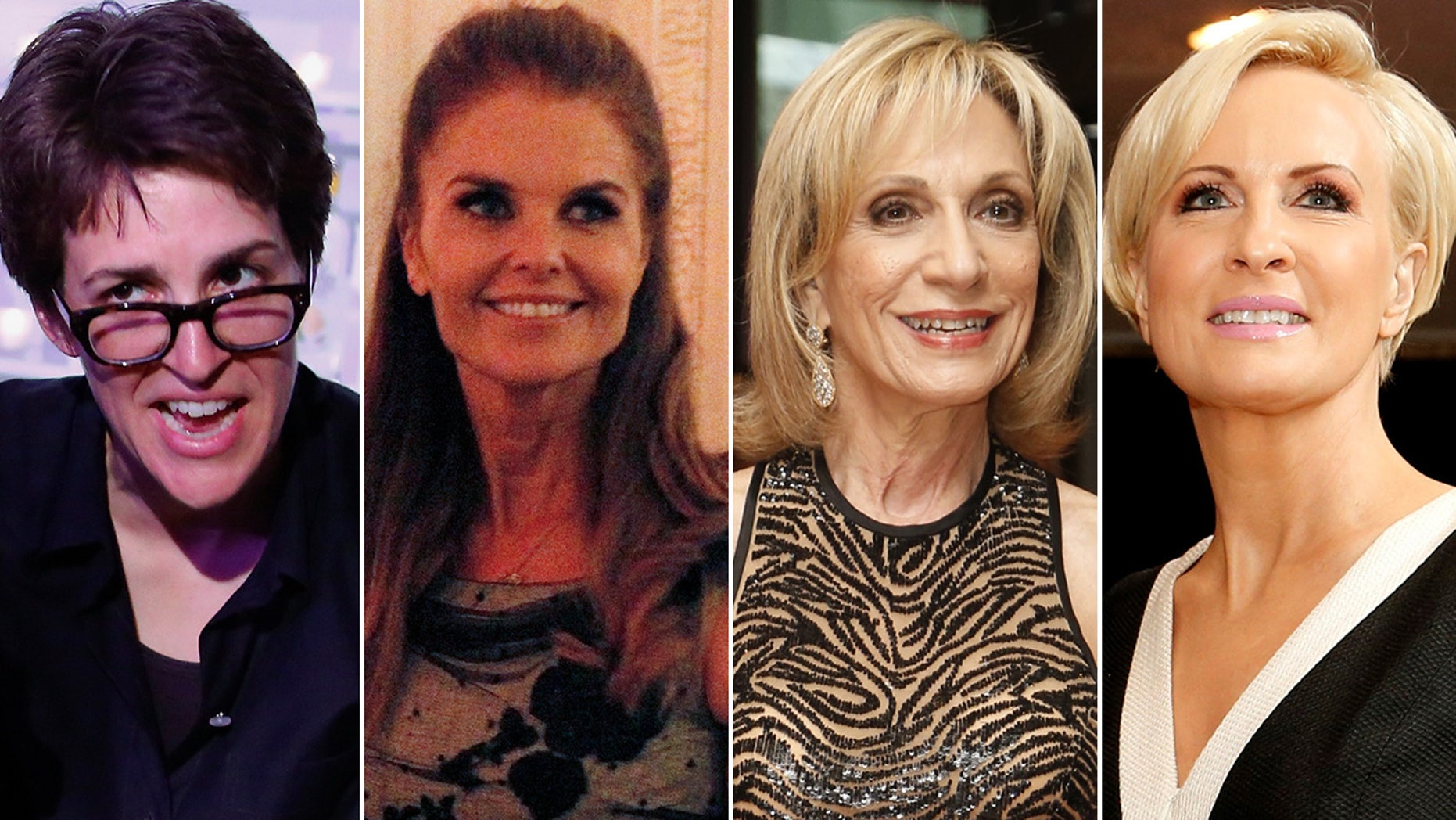 Tom Brokaw's defenders at NBC/MSNBC reportedly include, from left, Rachel Maddow, Maria Shriver, Andrea Mitchell and Mika Brzezinski.