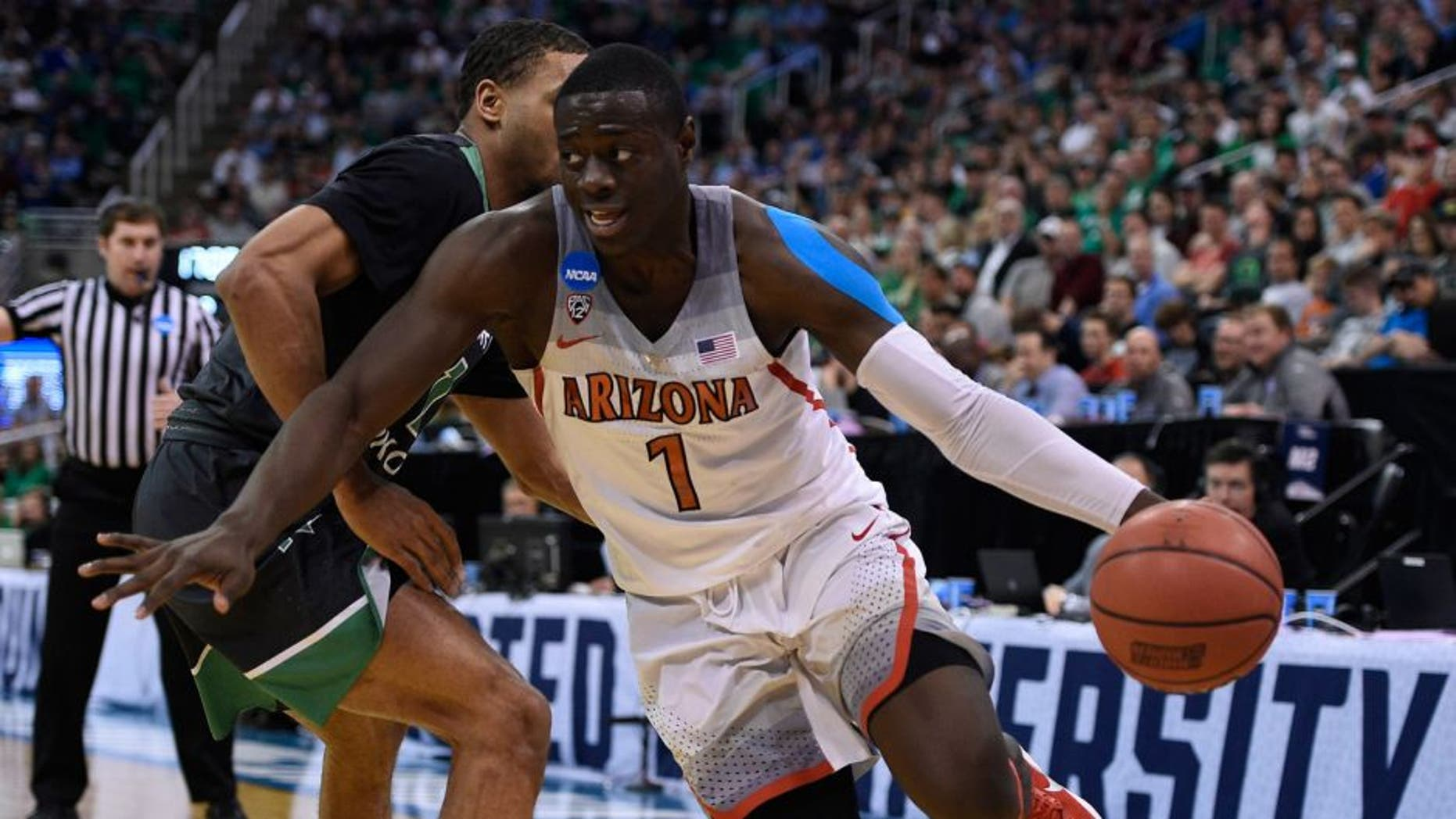 March 16, 2017; Salt Lake City, UT, USA; Arizona Wildcats guard Rawle Alkins (1) moves to the basket against the North Dakota Fighting Hawks during the second half in the first round of the NCAA tournament at Vivint Smart Home Arena. Mandatory Credit: Kelvin Kuo-USA TODAY Sports