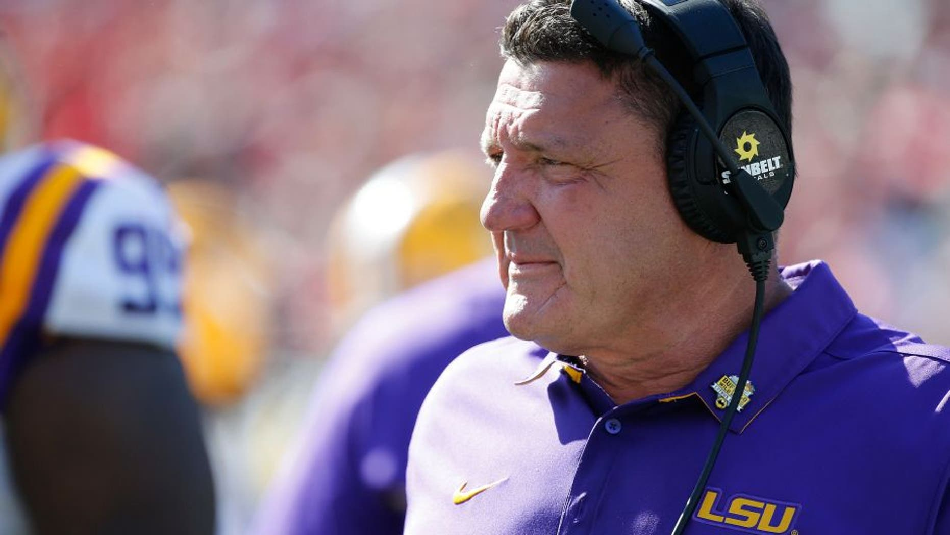 Dec 31, 2016; Orlando , FL, USA; LSU Tigers head coach Ed Orgeron during the second half at Camping World Stadium. LSU Tigers defeated the Louisville Cardinals 29-9. Mandatory Credit: Kim Klement-USA TODAY Sports