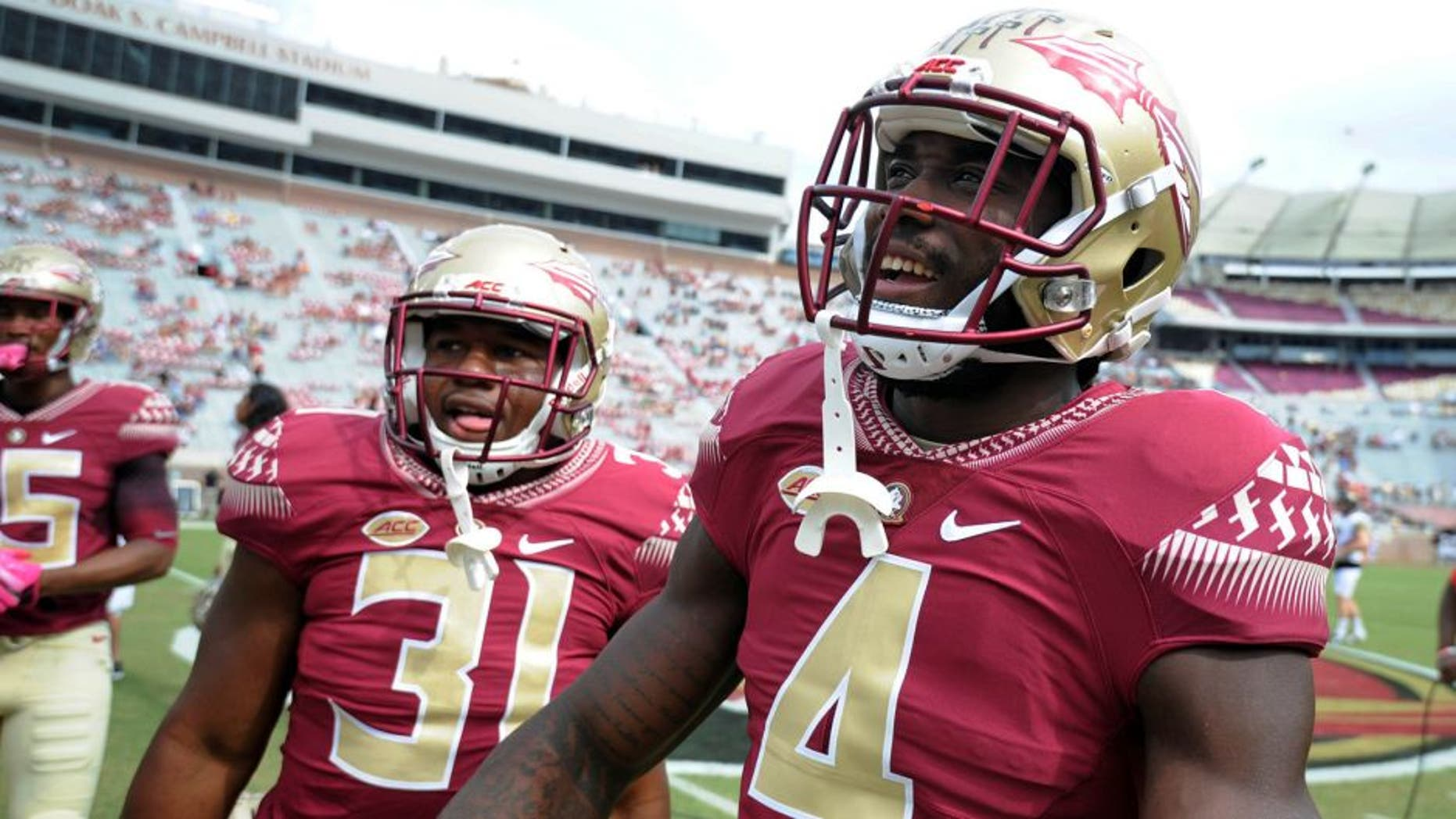 Oct 15, 2016; Tallahassee, FL, USA; Florida State Seminoles running back Dalvin Cook (4) before the game against the Wake Forest Demon Deacons at Doak Campbell Stadium. Mandatory Credit: Melina Vastola-USA TODAY Sports