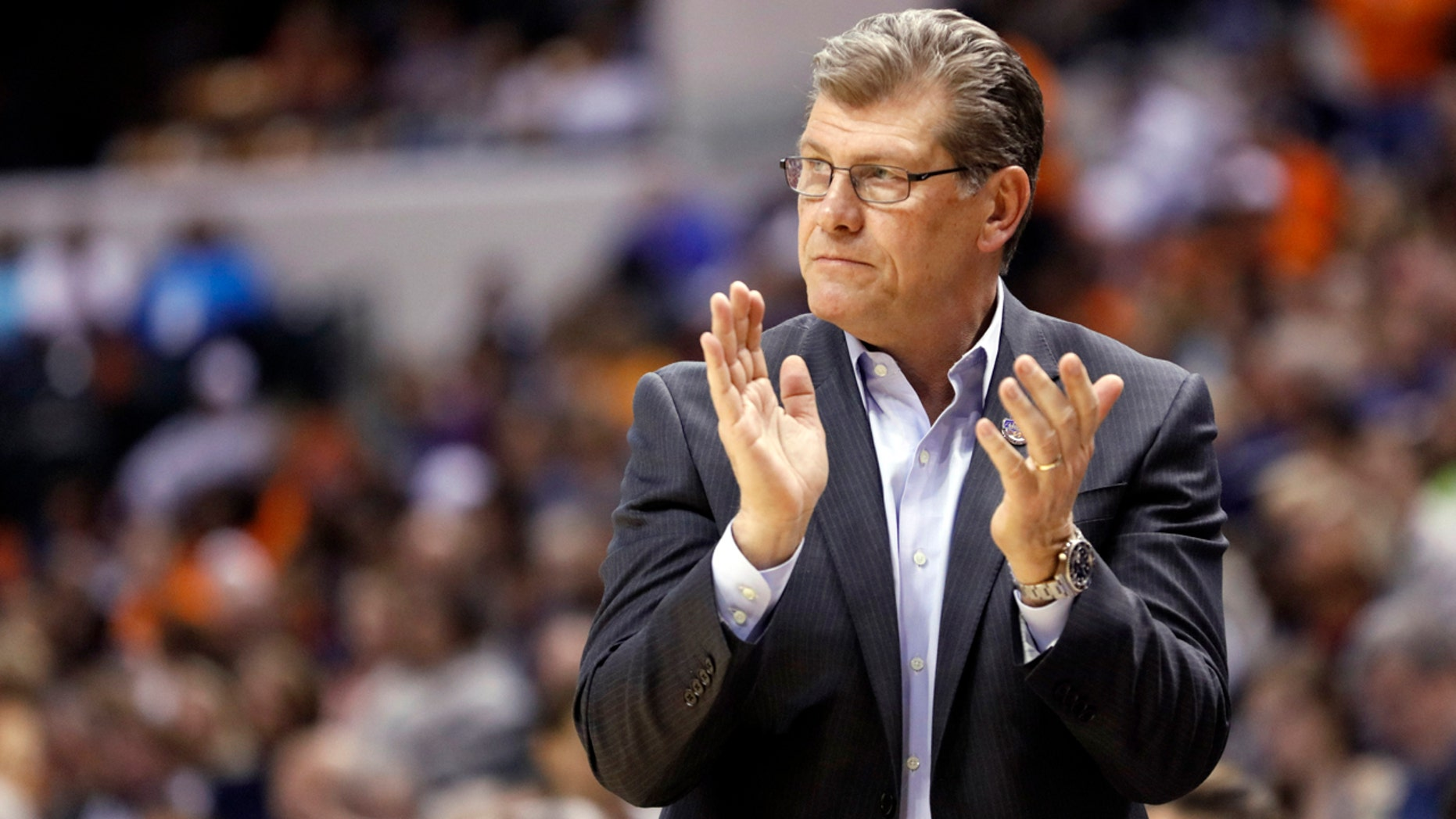 April 3, 2016: Connecticut head coach Geno Auriemma cheers for his team during the second half of the Huskies' women's Final Four game against Oregon State in Indianapolis.