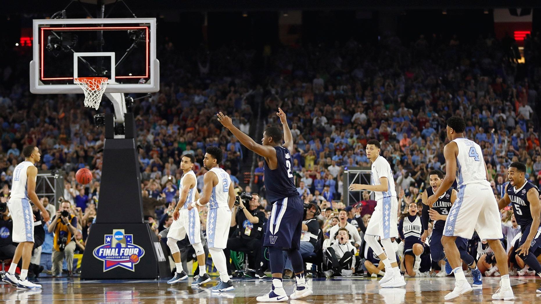 April 4, 2016: Villanova forward Kris Jenkins (2) reacts to his shot at the end of the NCAA men's college basketball championship game against North Carolina