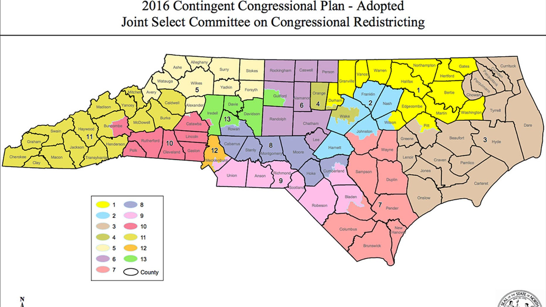 North Carolina's current congressional district map, the subject of a legal challenge.