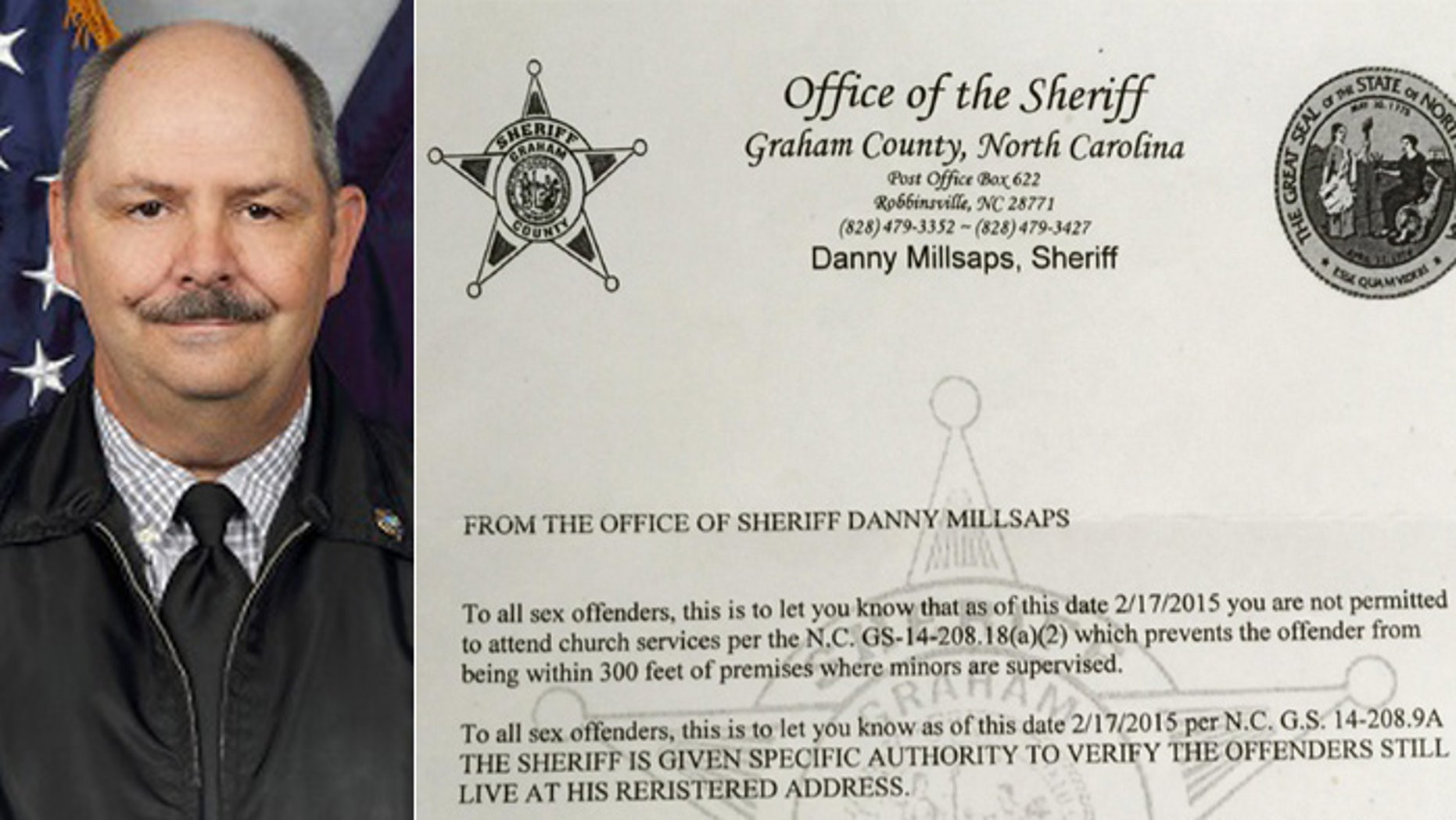 Graham County, NC, Sheriff Danny Millsaps, (l.), sent this letter to all 20 registered sex offenders living in his county. (North Carolina Sheriff's Association, Asheville Citizen-Times)