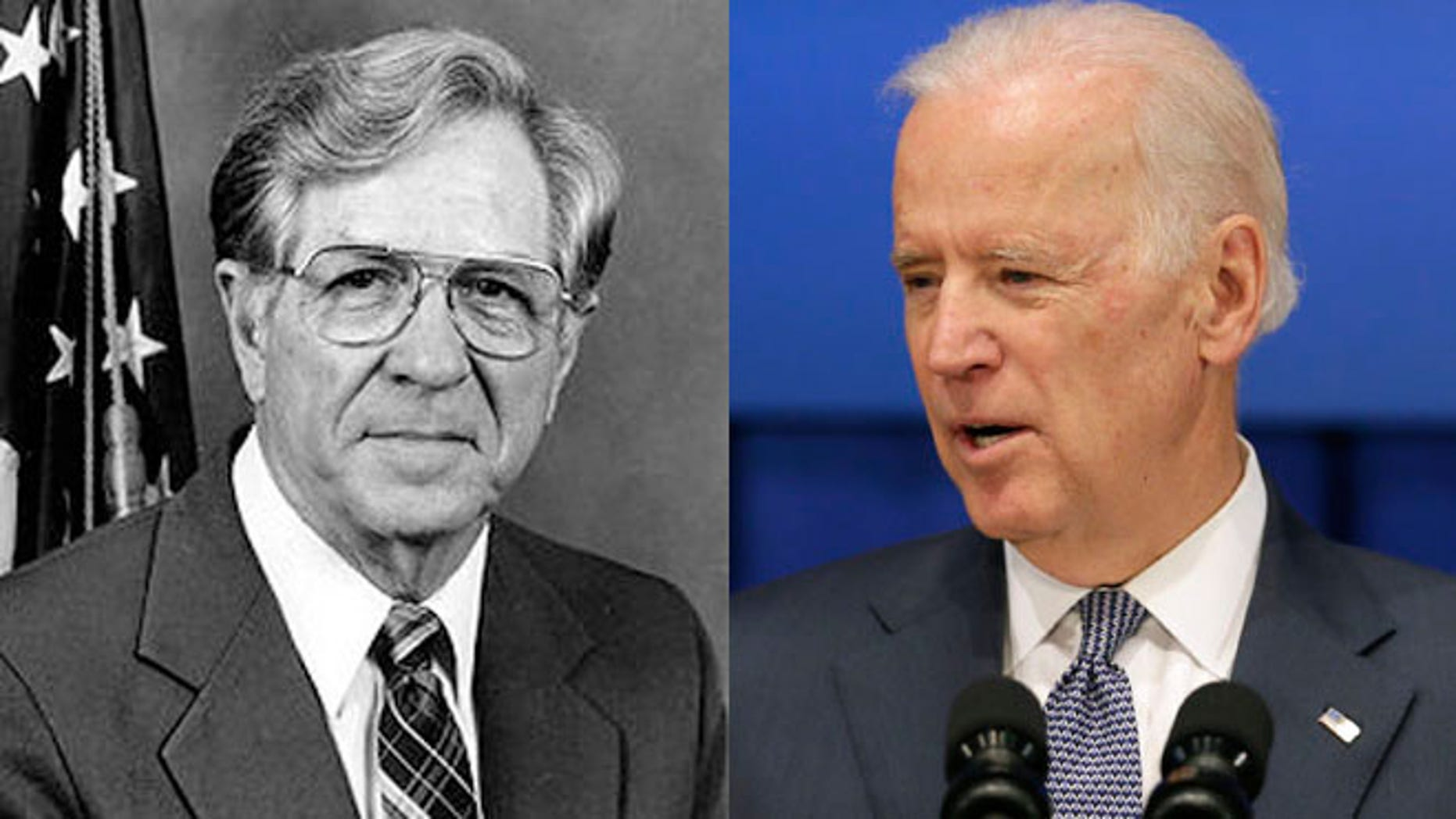Neal Smith (left), 94-year-old former Iowa lawmaker and Vice President Joe Biden (right).