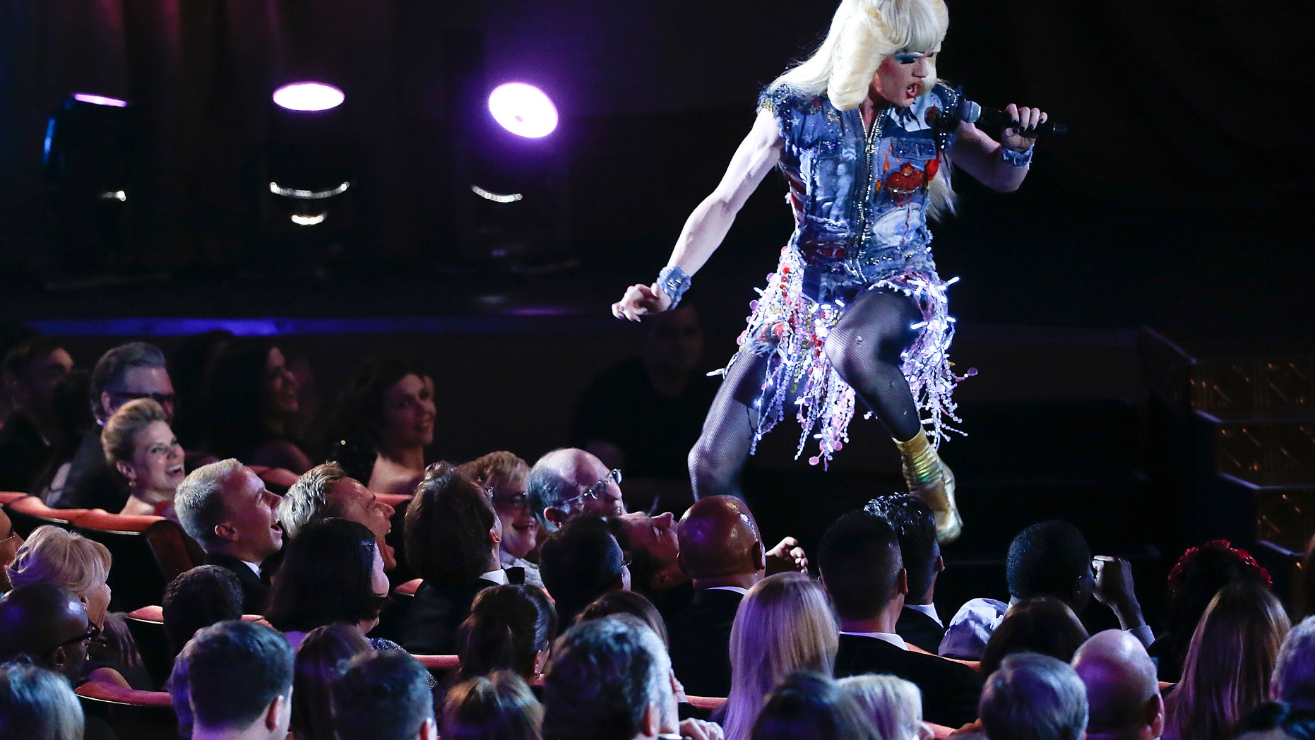 """June 8, 2014. Actor Neil Patrick Harris performs a song from """"Hedwig and the Angry Inch"""" during the American Theatre Wing's 68th annual Tony Awards at Radio City Music Hall in New York."""