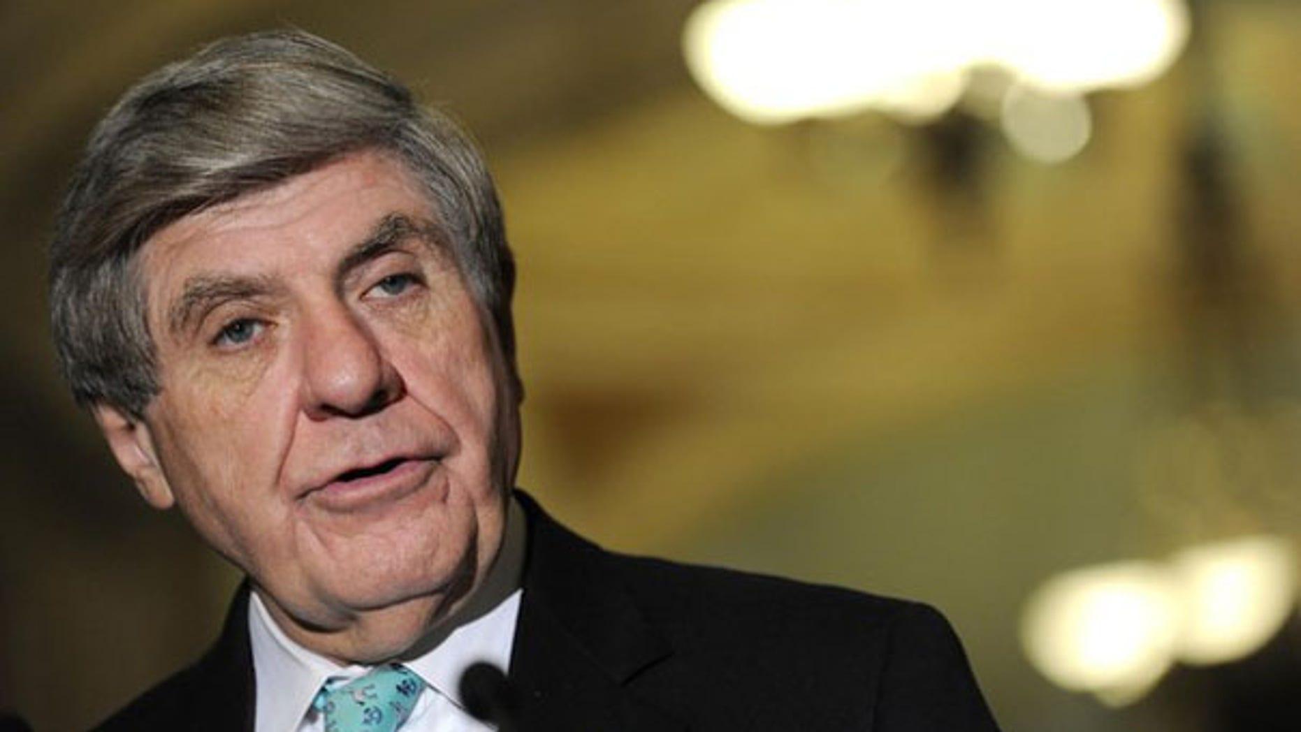 Sen. Ben Nelson speaks about health care legislation at the U.S. Capitol Dec. 19. (Reuters Photo)