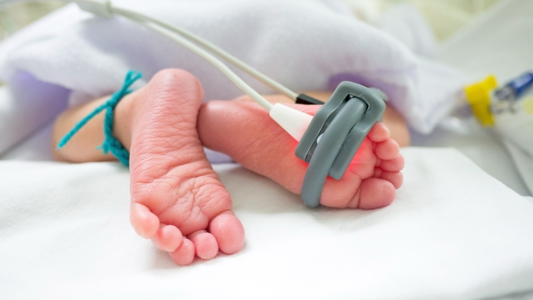 baby feet and oxygen saturation monitor