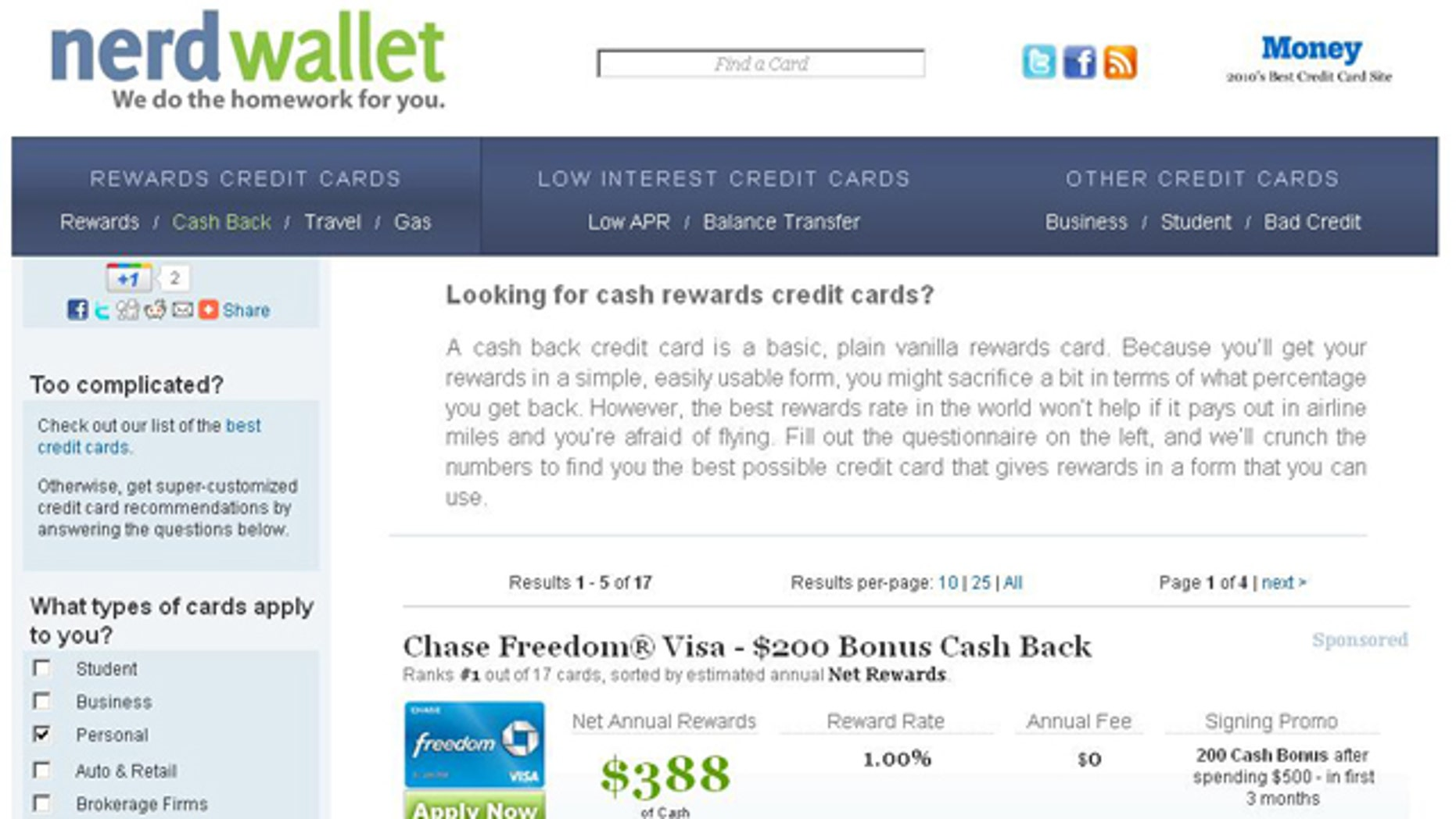 """A screenshot of the website for credit-card comparison site NerdWallet, which offers to do the """"nerding"""" work for you."""
