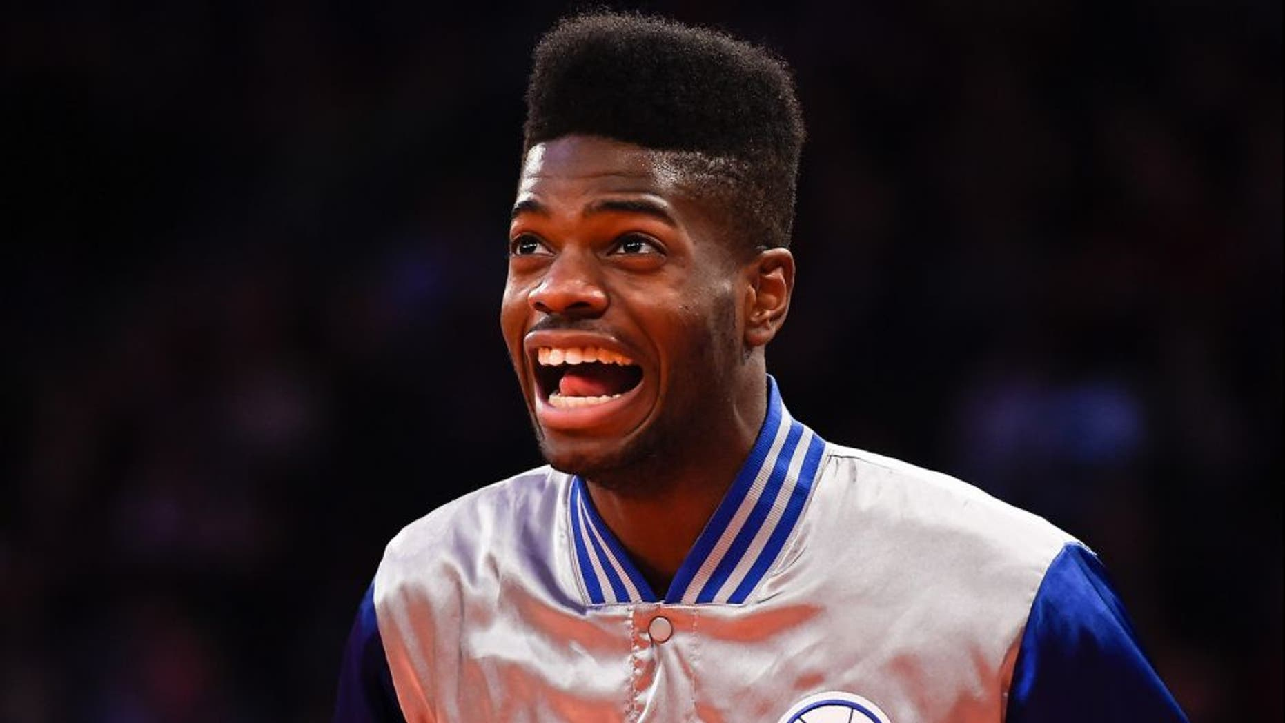 NEW YORK, NY - NOVEMBER 22: Nerlens Noel #4 of the Philadelphia 76ers looks on before a game against the New York Knicks at Madison Square Garden on November 22, 2014 in New York City. NOTE TO USER: User expressly acknowledges and agrees that, by downloading and/or using this photograph, user is consenting to the terms and conditions of the Getty Images License Agreement. (Photo by Alex Goodlett/Getty Images)