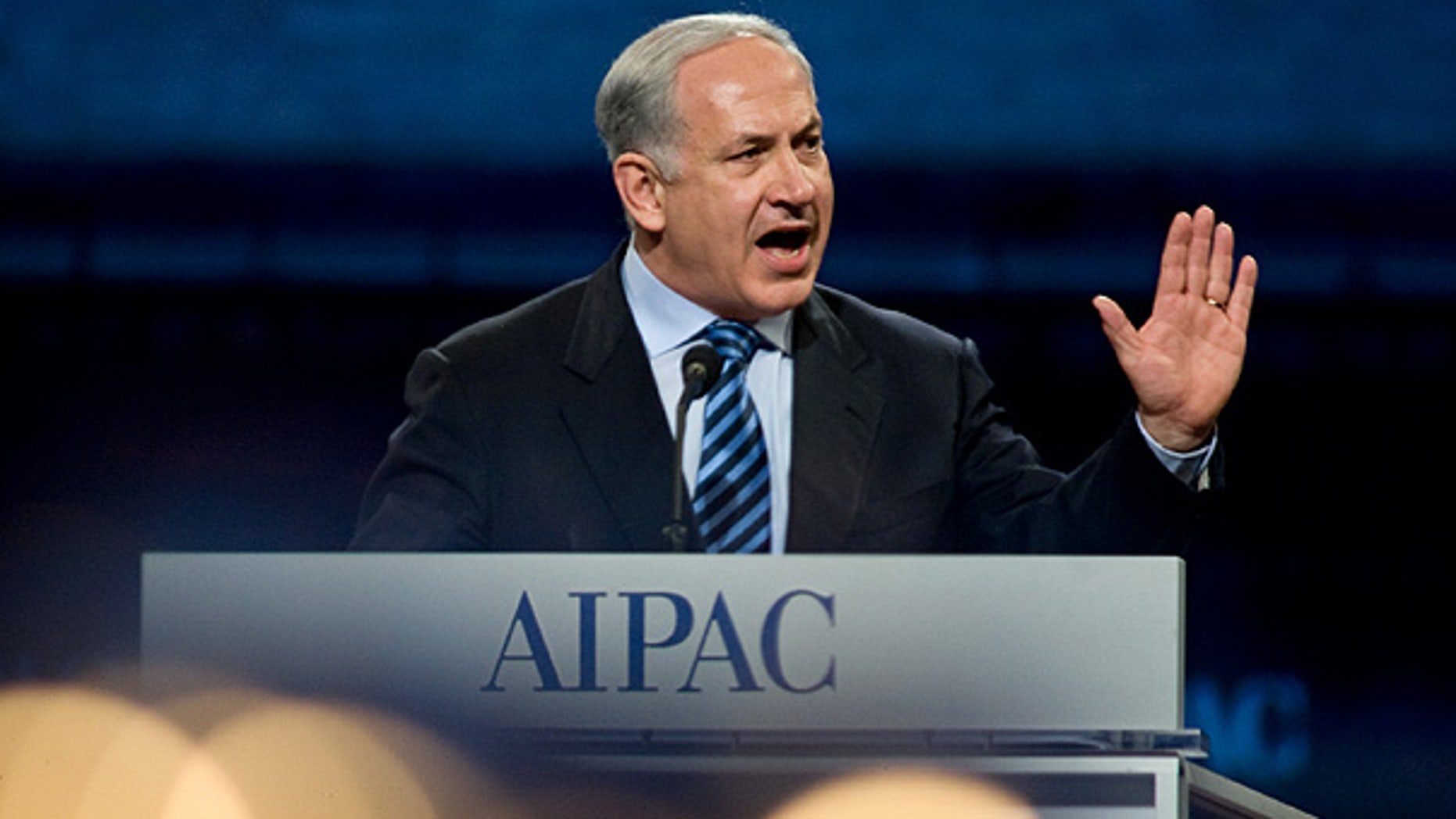 Mar. 22: Israel Prime Minister Benjamin Netanyahu addresses the American Israel Public Affairs Committee Policy Conference dinner in Washington.