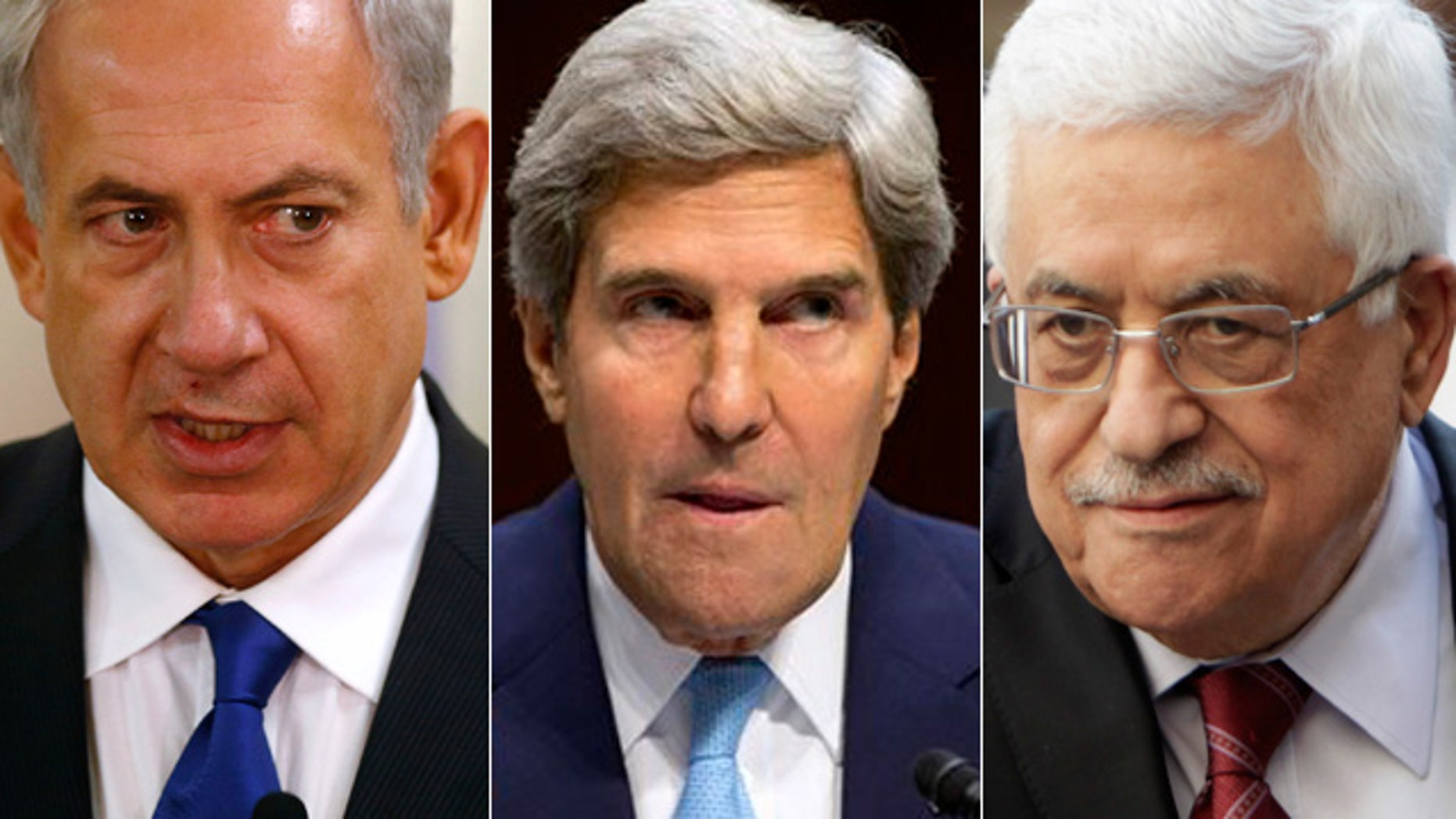 From left to right, Israeli Prime Minister Benjamin Netanyahu, Secretary of State John Kerry and Palestinian President Mahmoud Abbas.